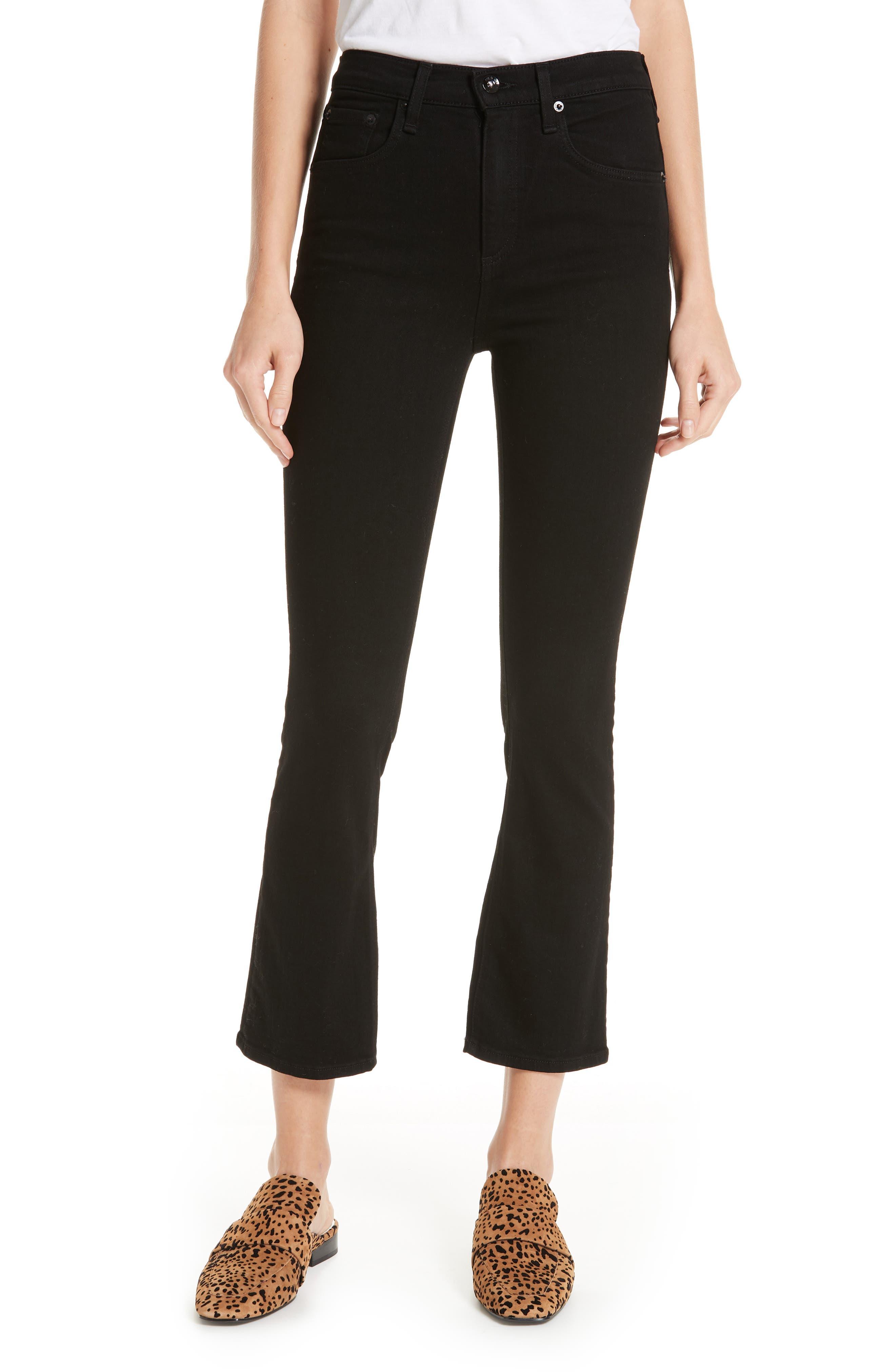 RAG & BONE Hana High Waist Ankle Flare Jeans, Main, color, 001