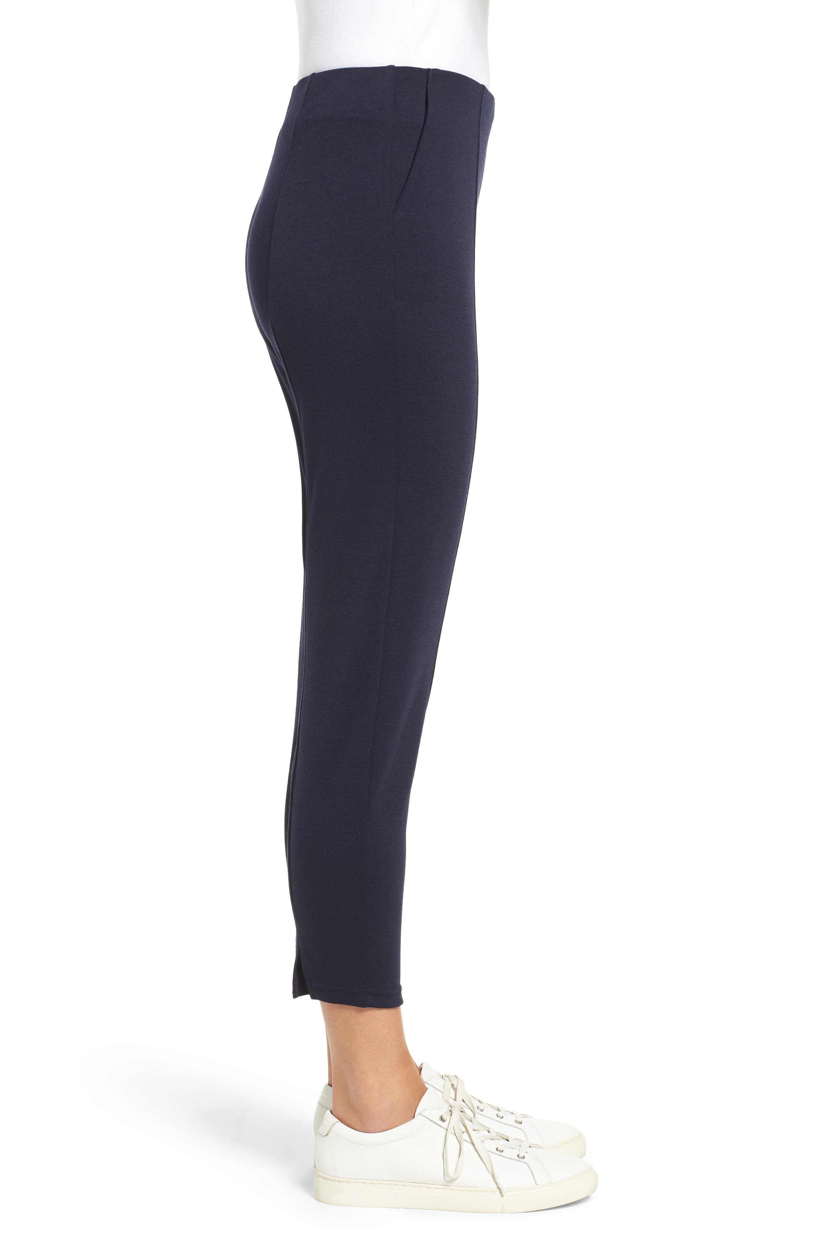 Luxe Seamed Ponte Skimmer Leggings,                             Alternate thumbnail 3, color,                             NAVY
