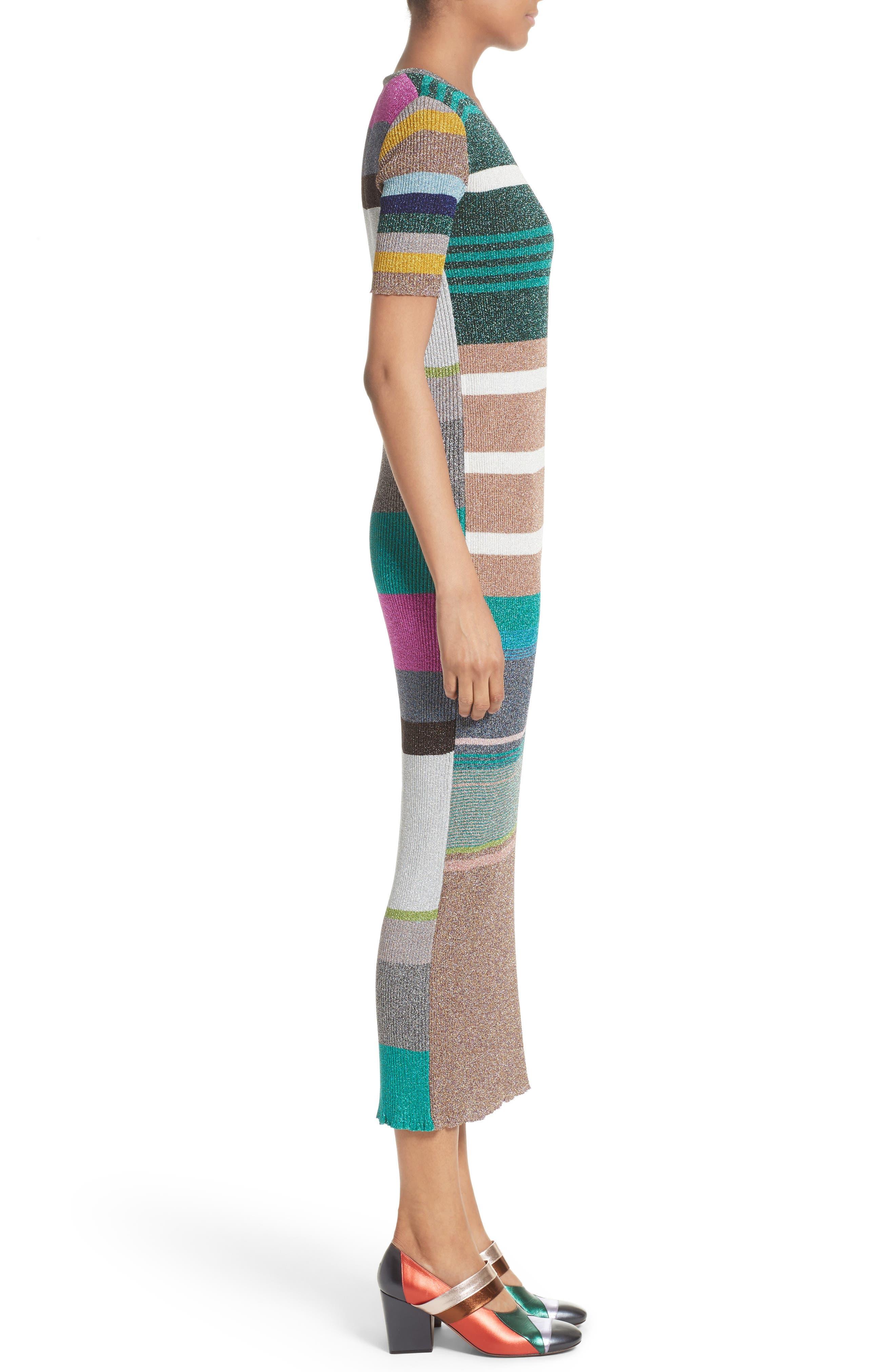 Metallic Stripe Rib Knit Dress,                             Alternate thumbnail 3, color,                             001