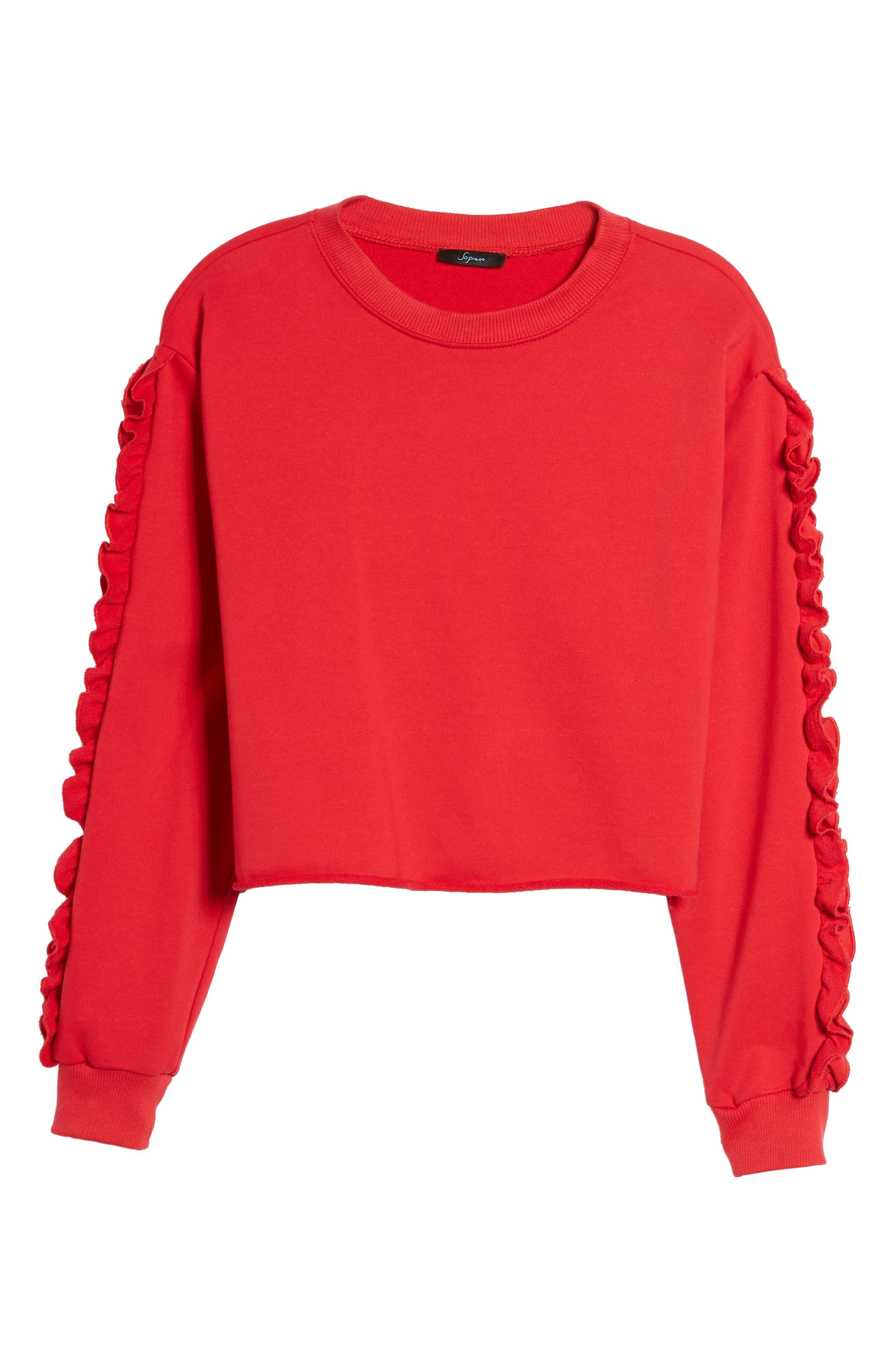 Ruffle Trim Sweatshirt,                             Alternate thumbnail 6, color,                             600
