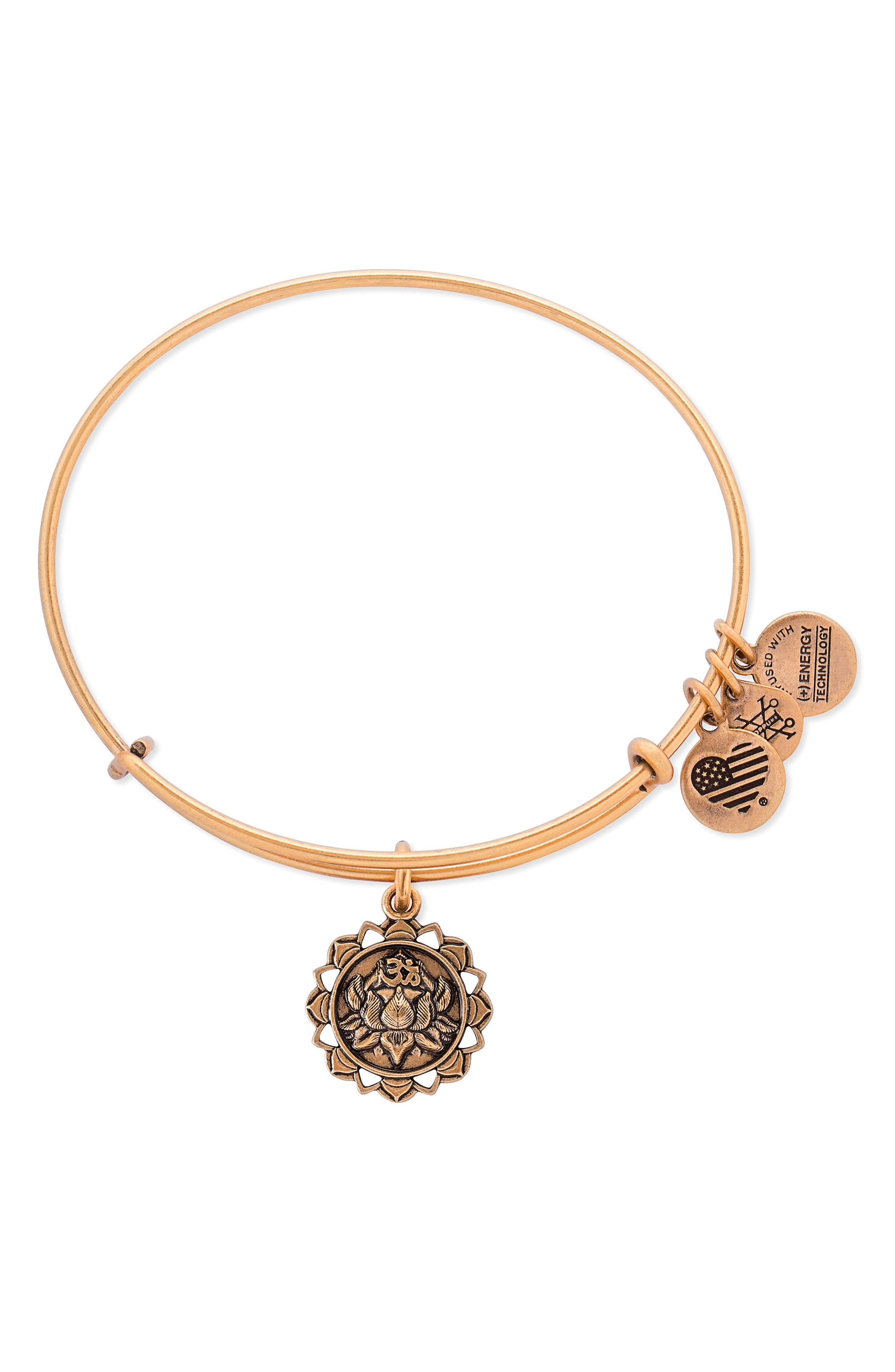 Lotus Adjustable Wire Bangle,                             Main thumbnail 1, color,                             RUSSIAN GOLD