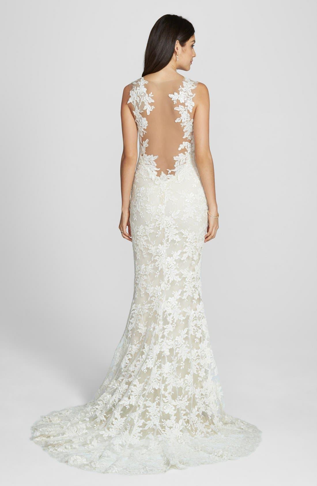 'Nicole' Aleçon Lace Mermaid Dress,                             Alternate thumbnail 2, color,                             IVORY/ VANILLA
