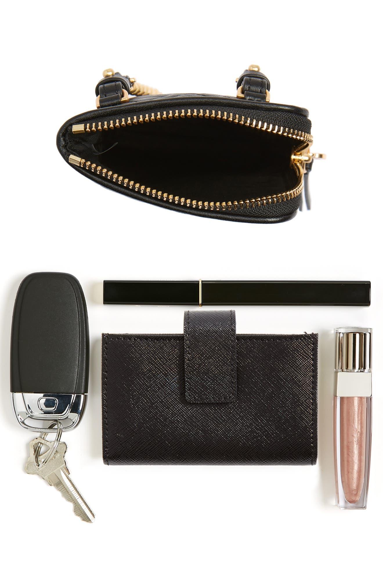 Fleming Lambskin Leather Phone Crossbody Bag,                             Alternate thumbnail 7, color,                             001
