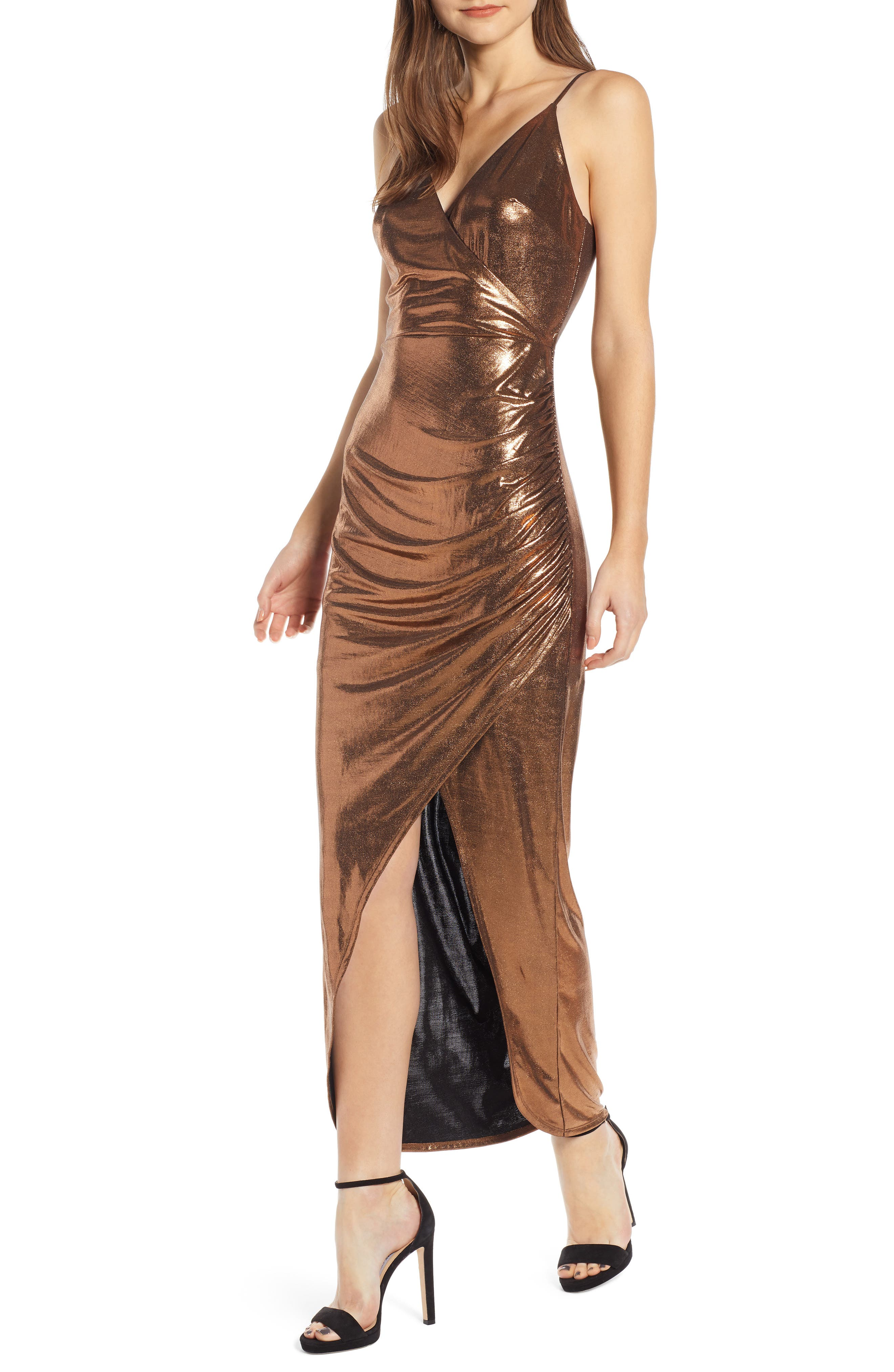 70s Prom, Formal, Evening, Party Dresses Womens Wayf Sonnie Ruched Metallic Dress $89.00 AT vintagedancer.com