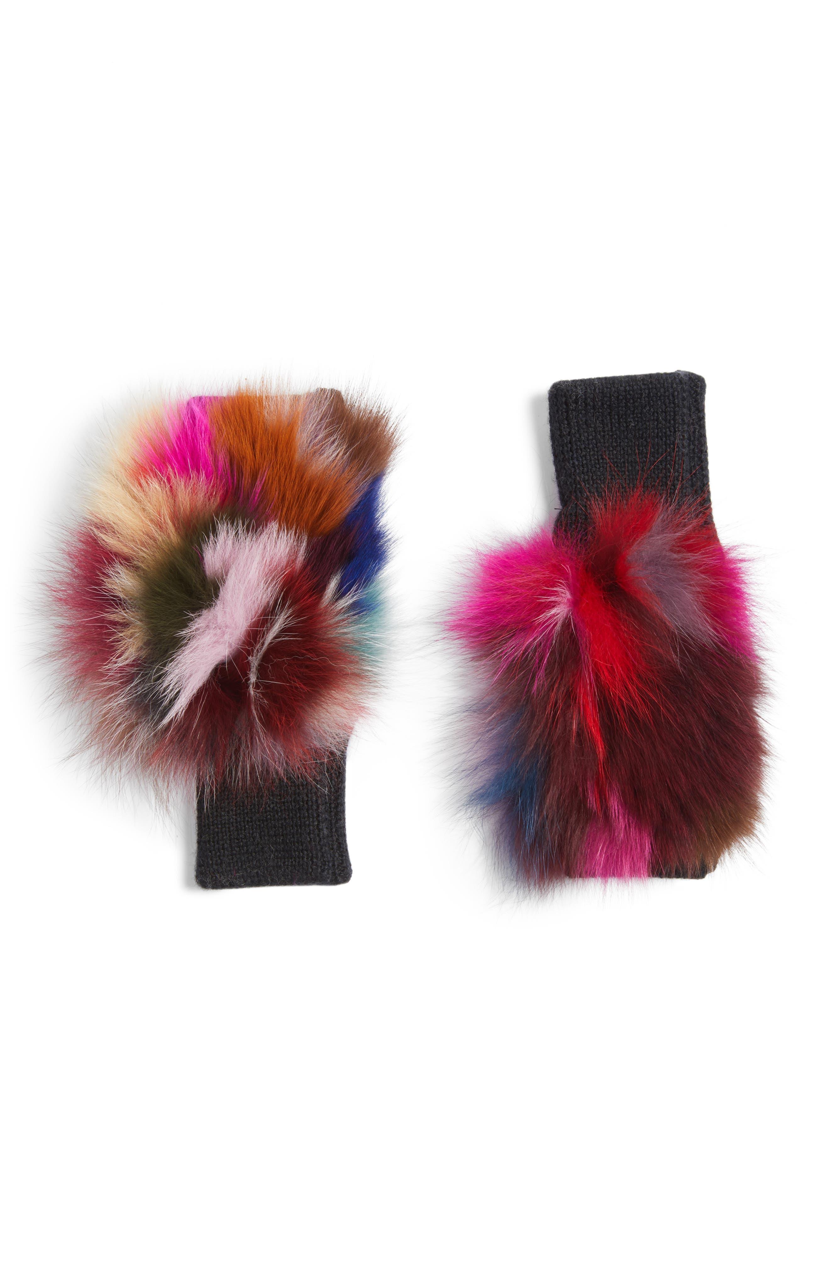 Genuine Fox Fur Fingerless Mittens,                             Main thumbnail 2, color,
