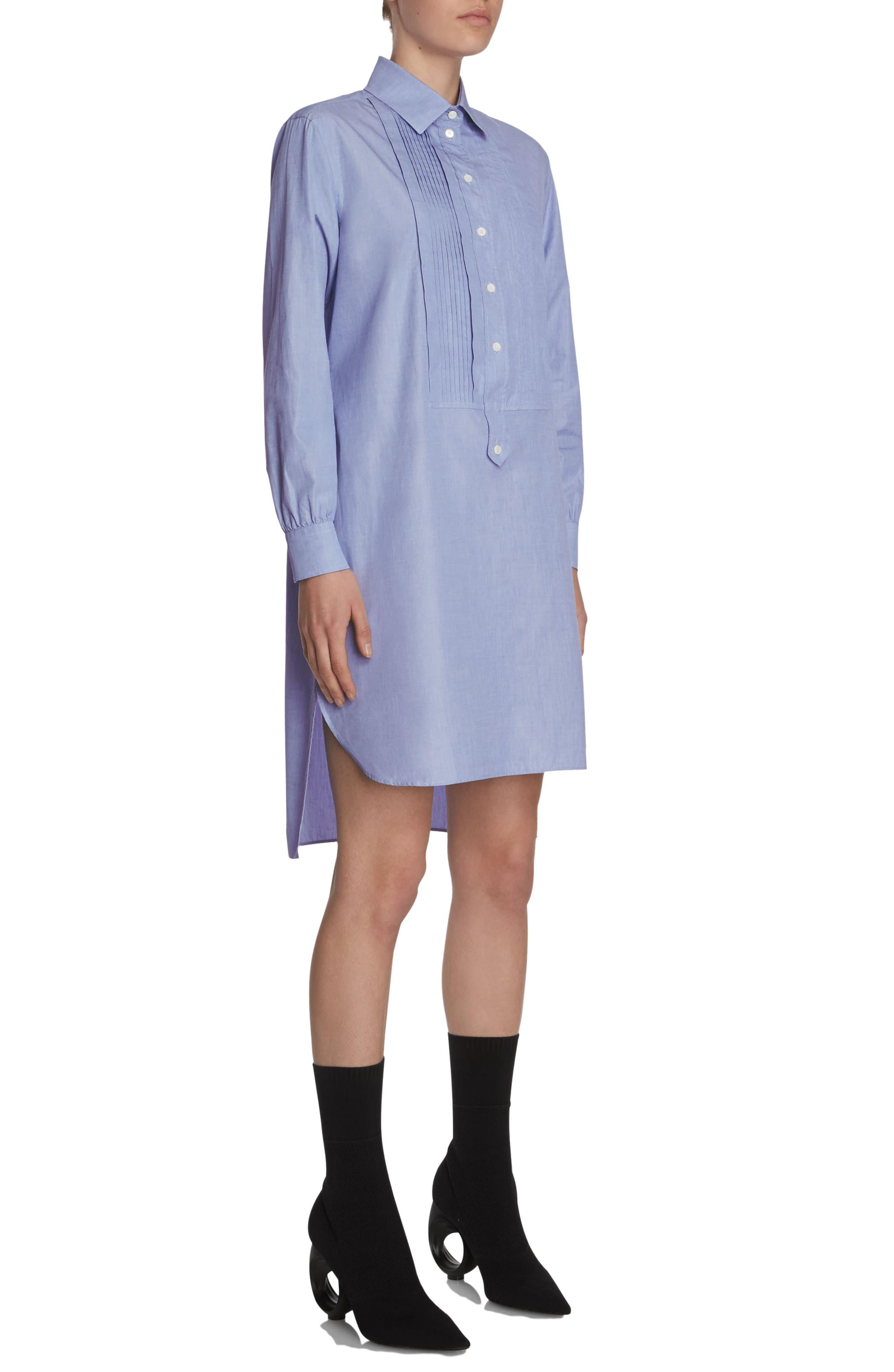 Pintuck Cotton Shirtdress,                             Alternate thumbnail 3, color,
