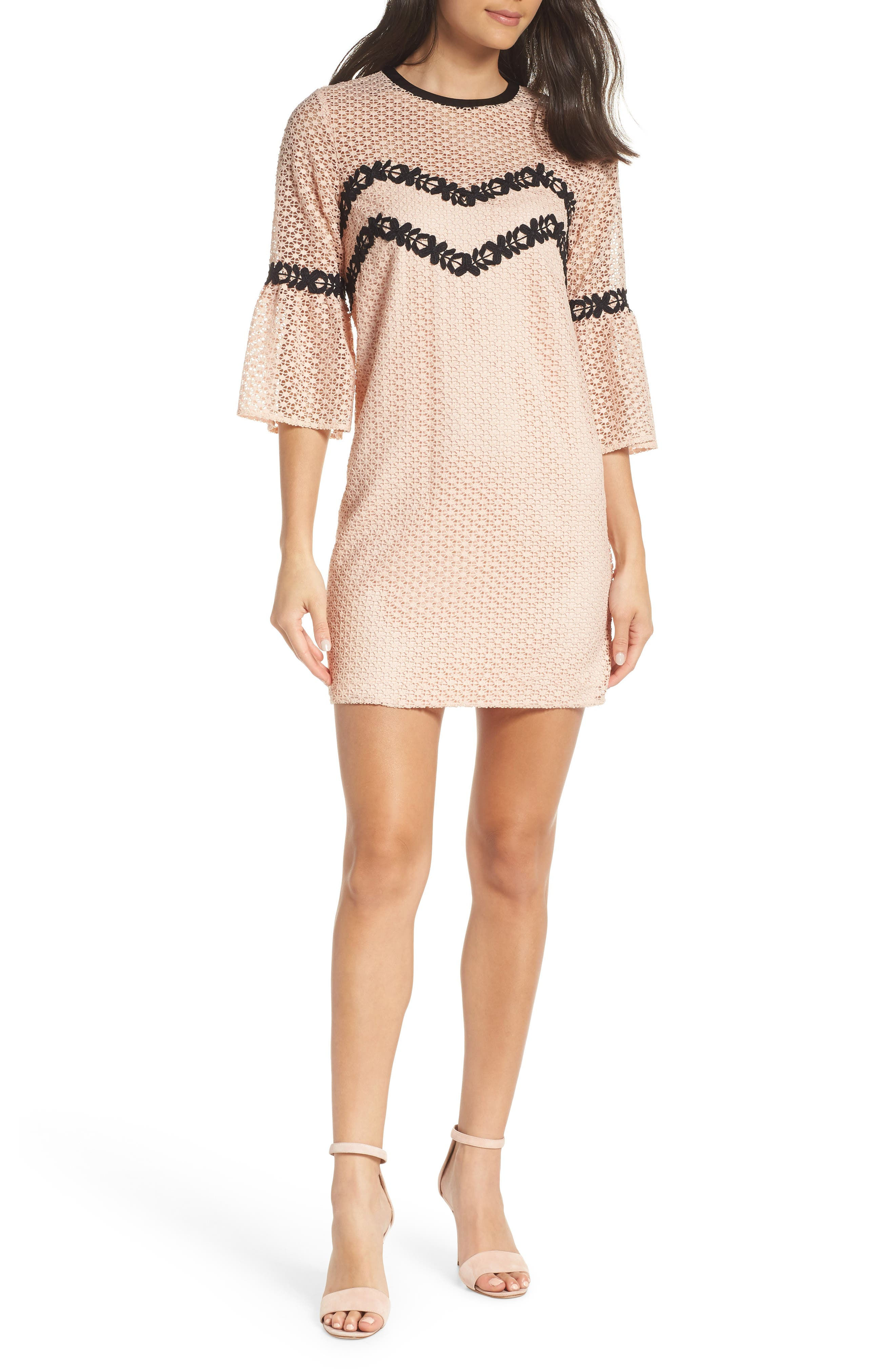 Chelsea28 Bell Sleeve Lace Shift Dress, Pink