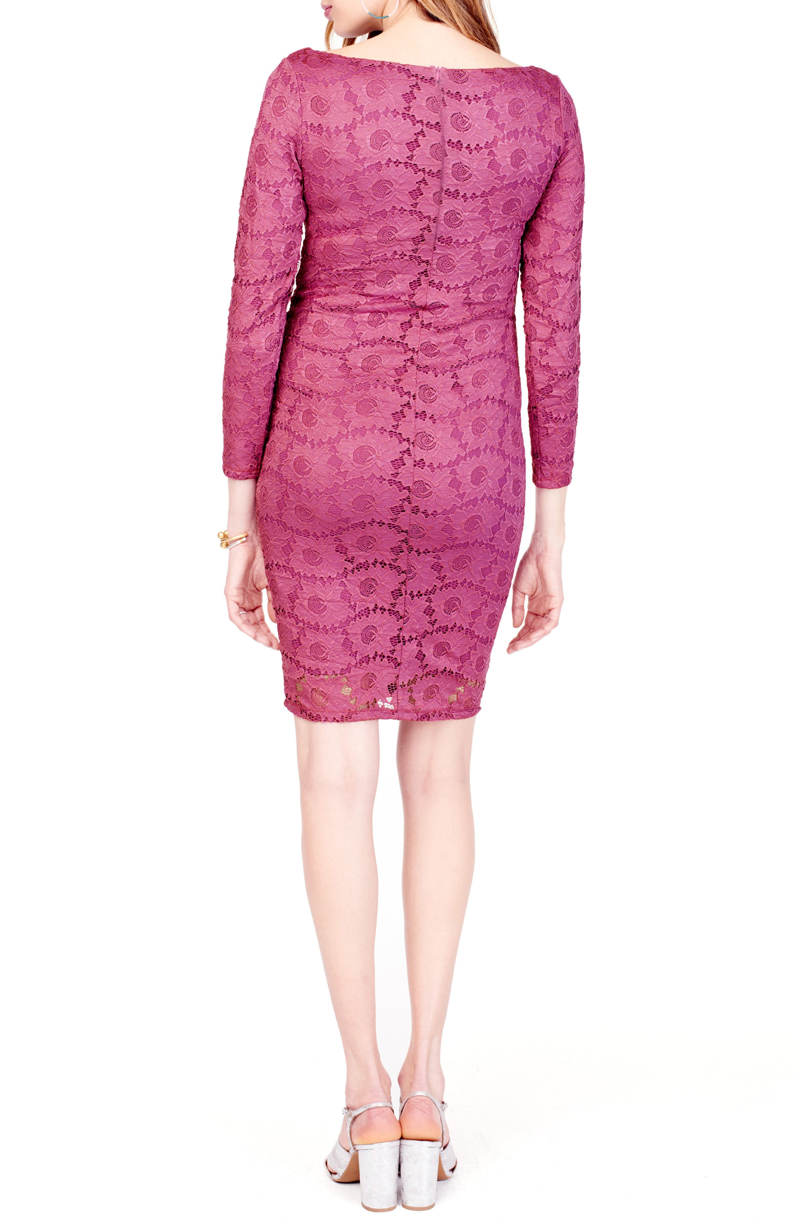 Ingrid & Isabel Floral Lace Body-Con Maternity Dress, Pink