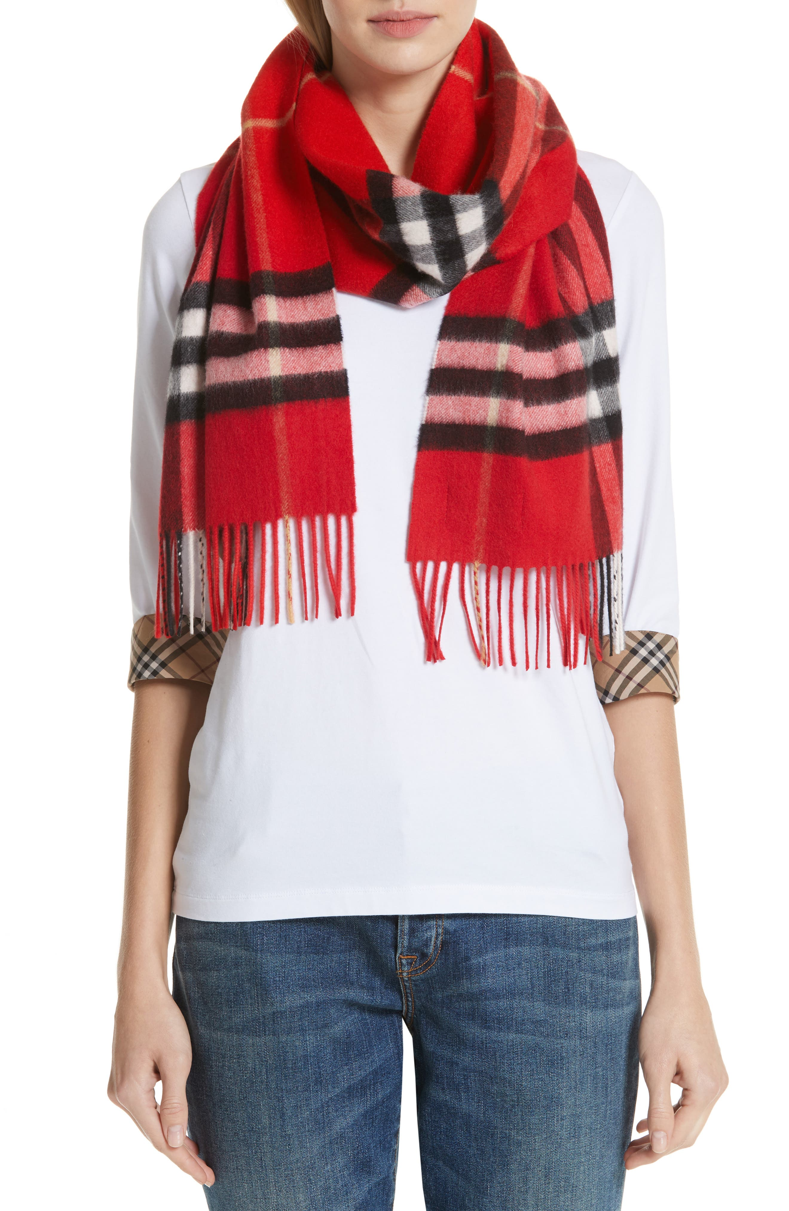 BURBERRY,                             Giant Check Cashmere Scarf,                             Main thumbnail 1, color,                             BRIGHT MILITARY RED