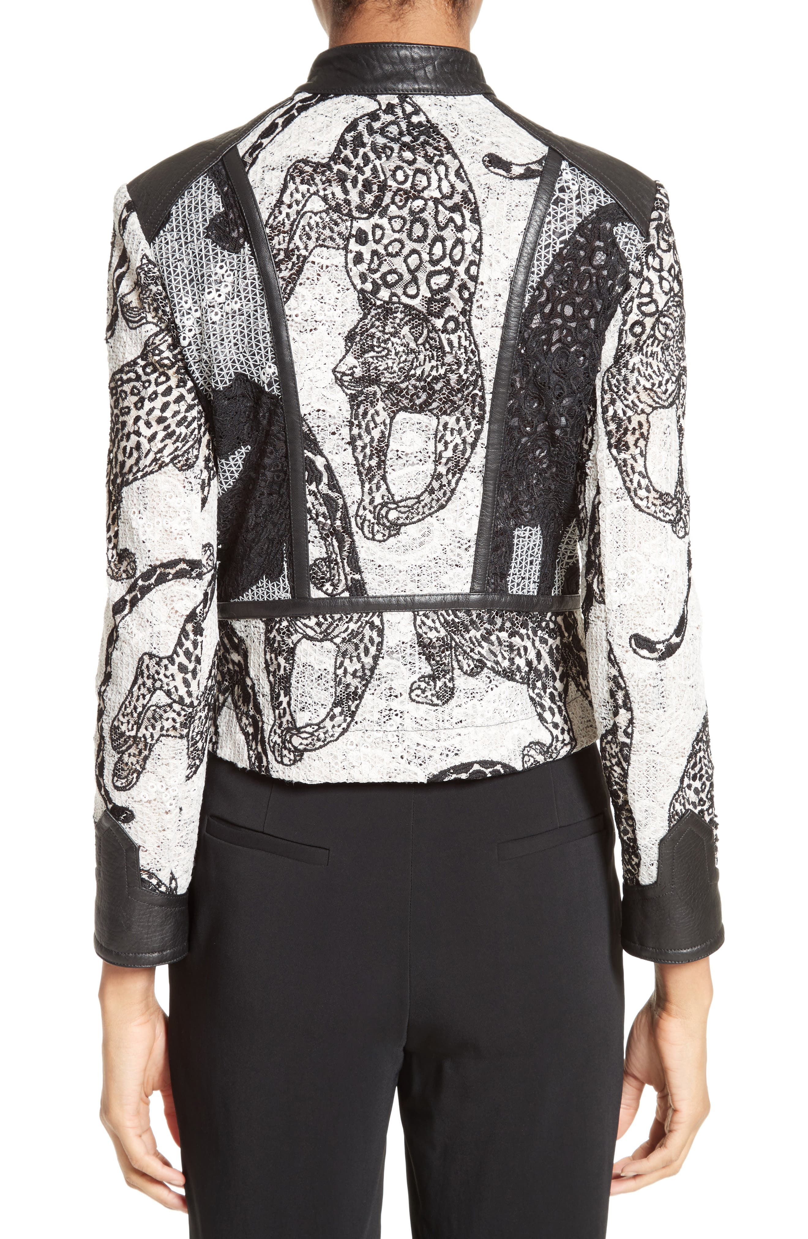 Lace & Leather Moto Jacket,                             Alternate thumbnail 2, color,                             001
