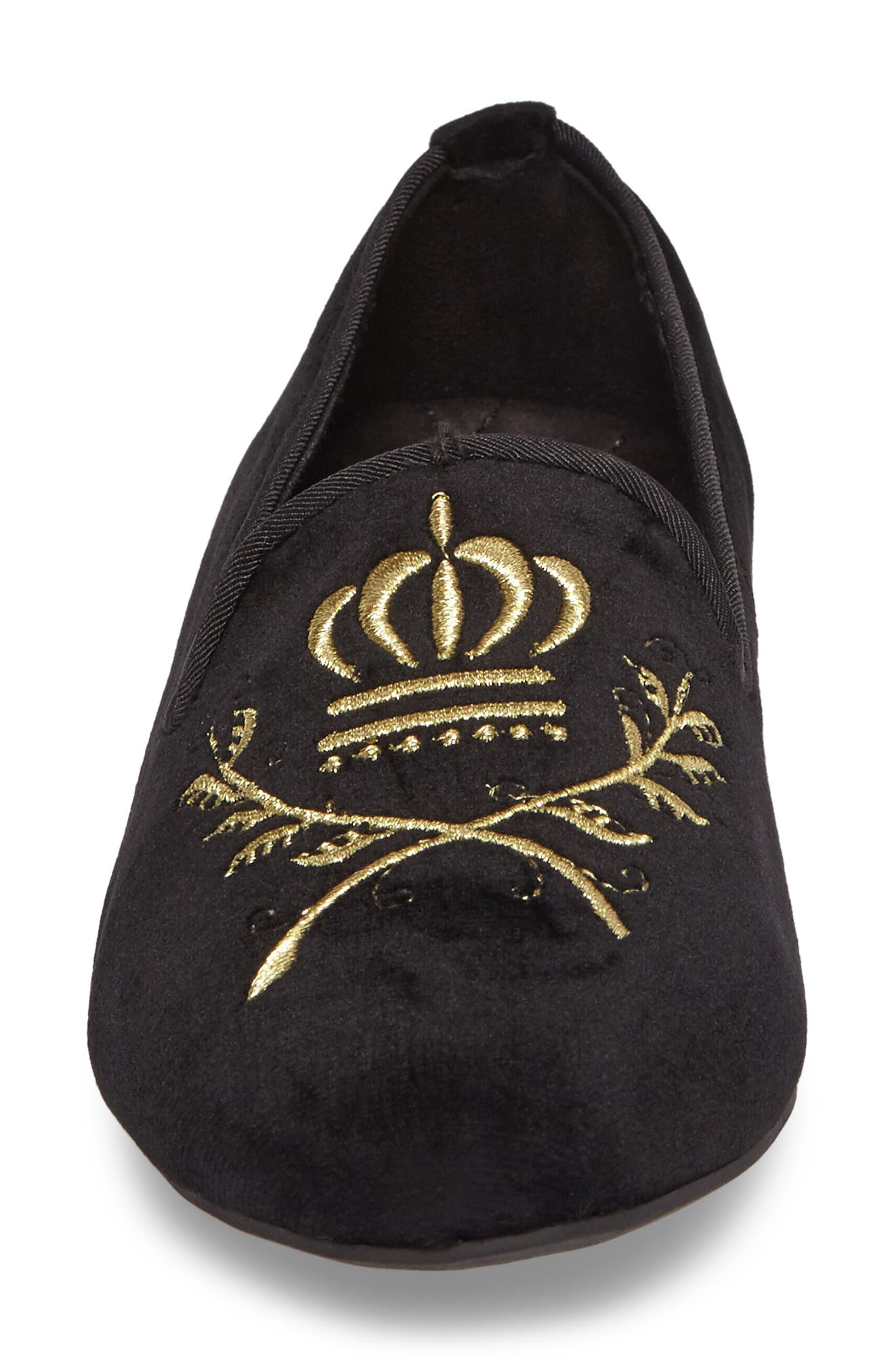 Romi Embroidered Flat,                             Alternate thumbnail 4, color,                             001
