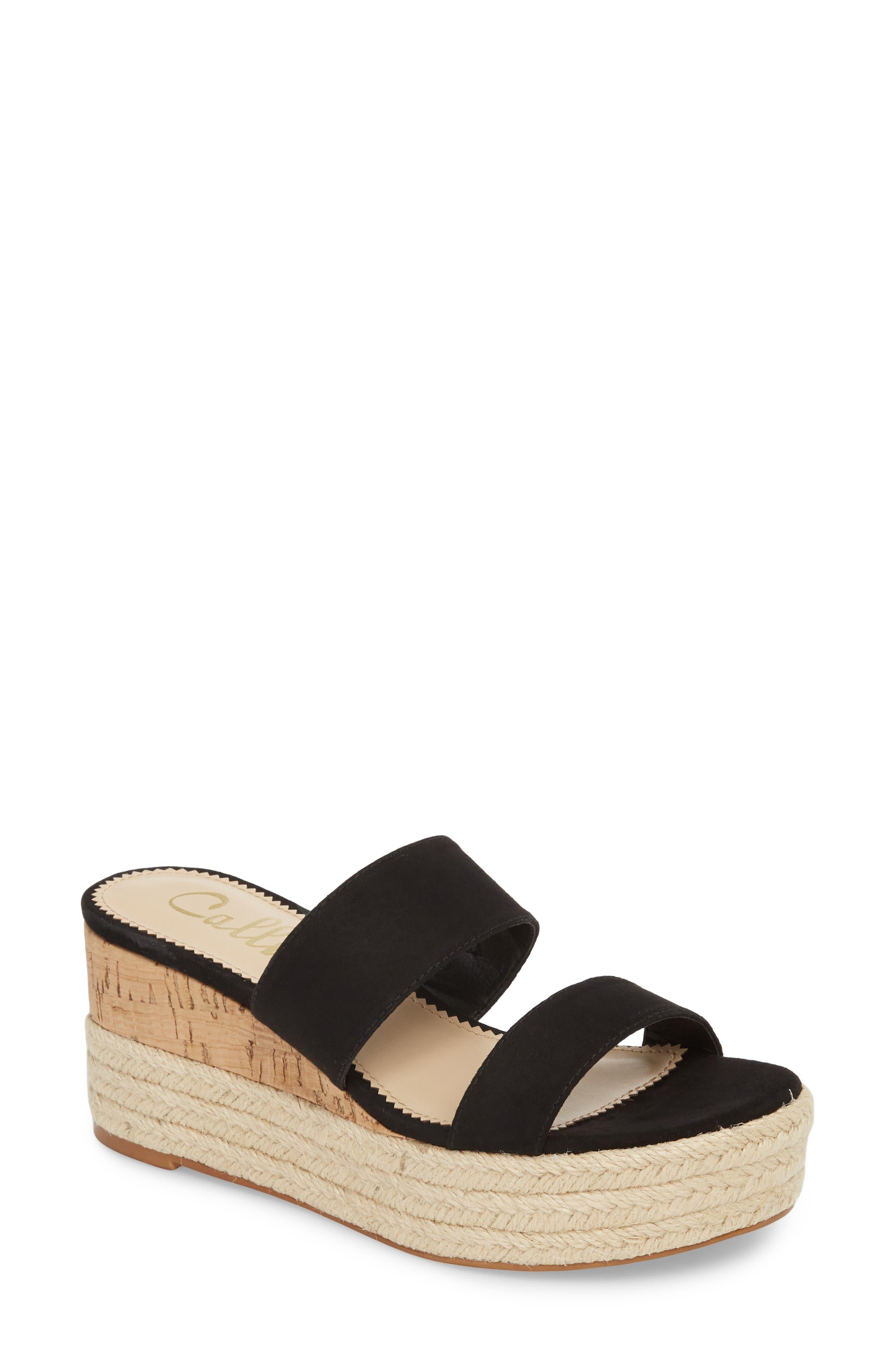 Foundation Platform Slide Sandal,                             Main thumbnail 1, color,                             BLACK SUEDE