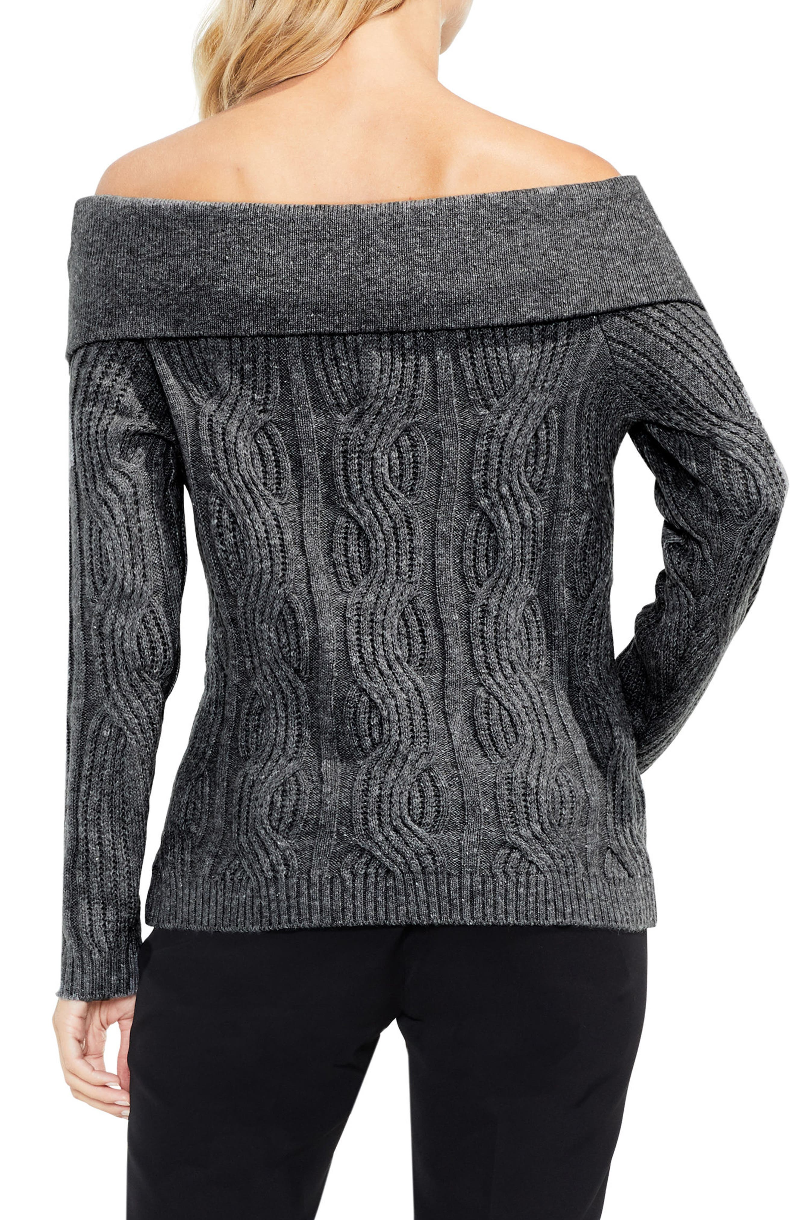 Off the Shoulder Cable Sweater,                             Alternate thumbnail 3, color,