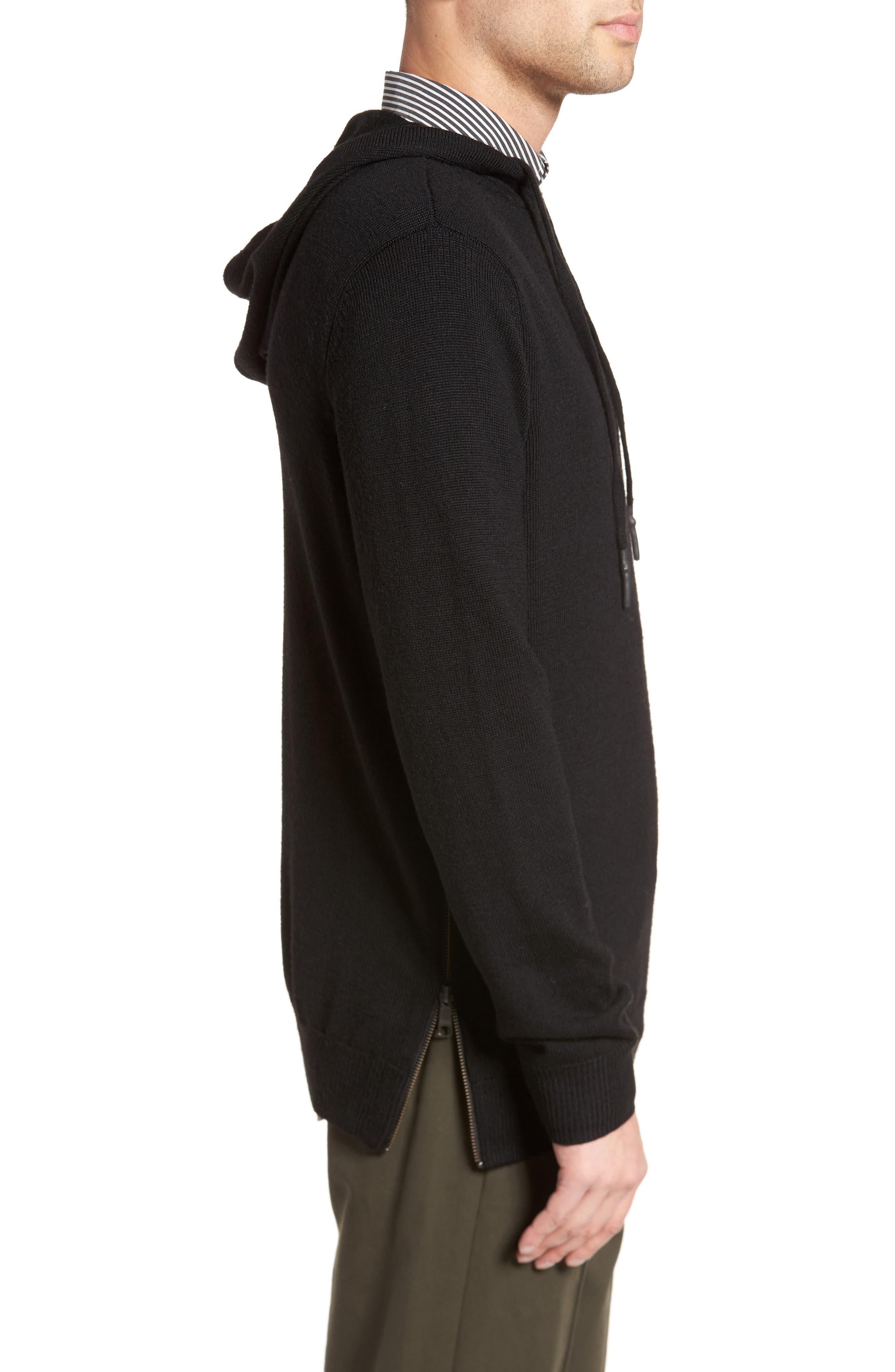 Regular Fit Merino Hooded Sweater,                             Alternate thumbnail 3, color,                             001