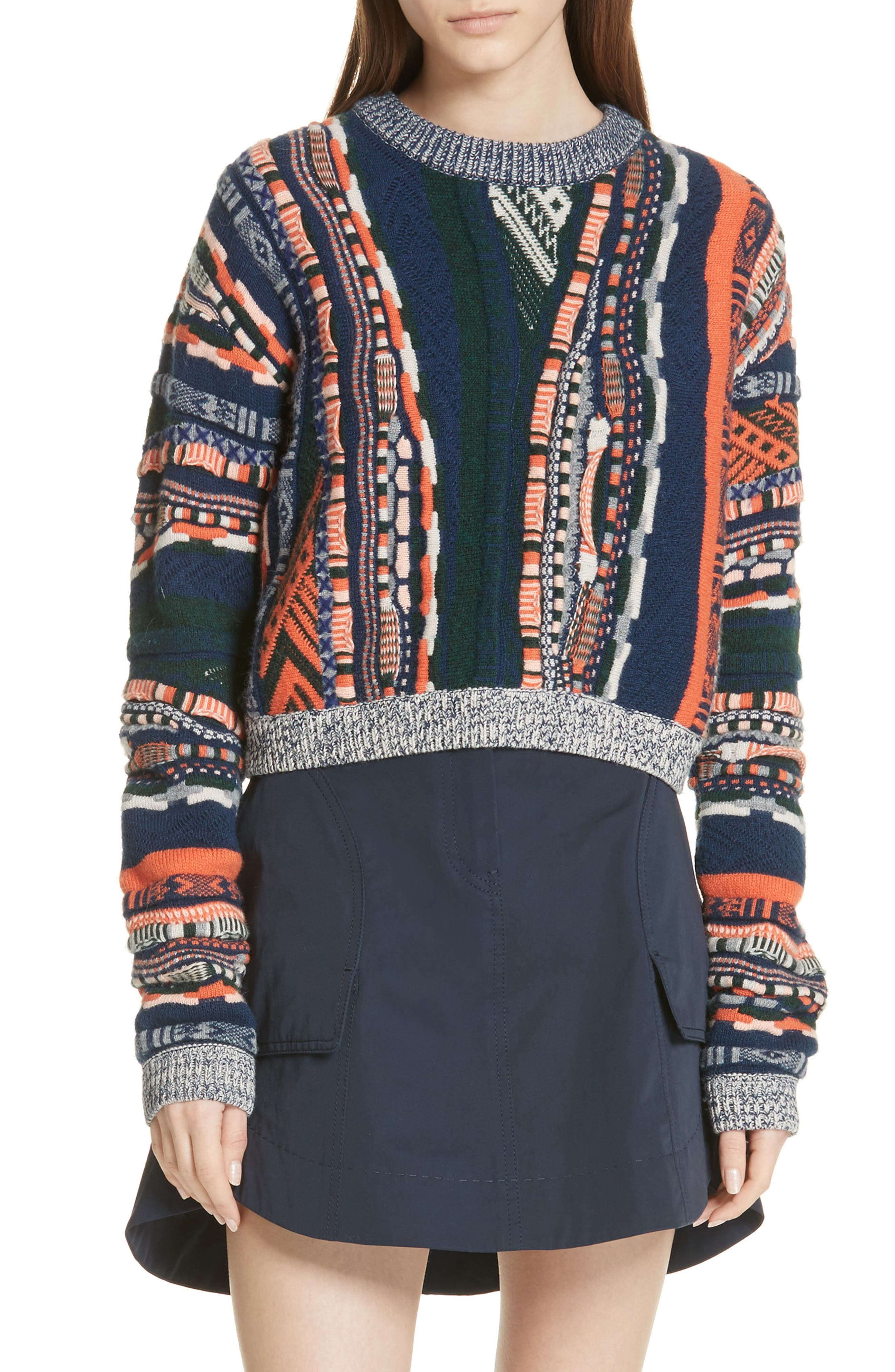 women's carven multistripe sweater, size x-small - blue