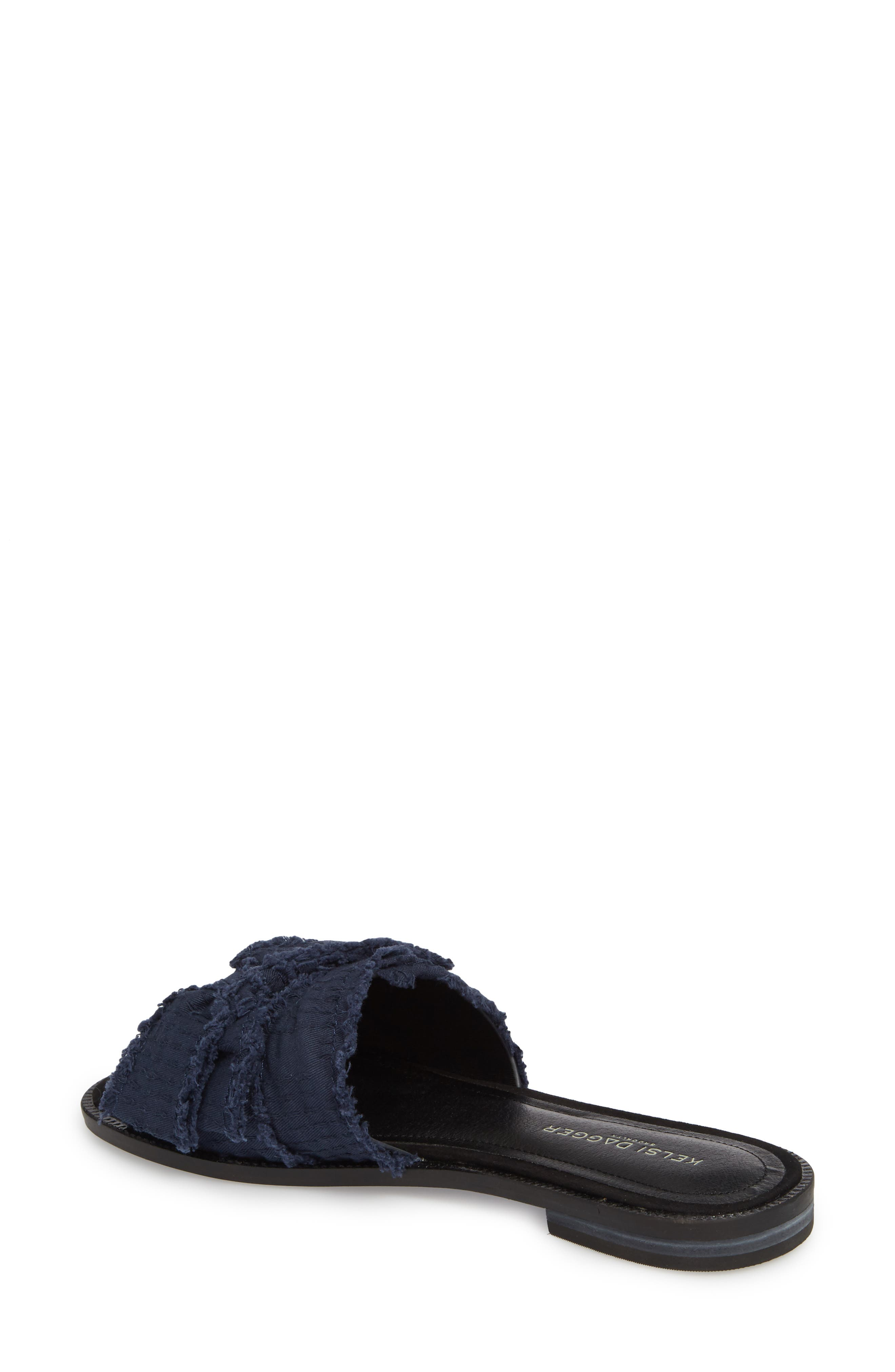 Revere Bow Slide Sandal,                             Alternate thumbnail 2, color,                             BLACK/ NAVY LEATHER