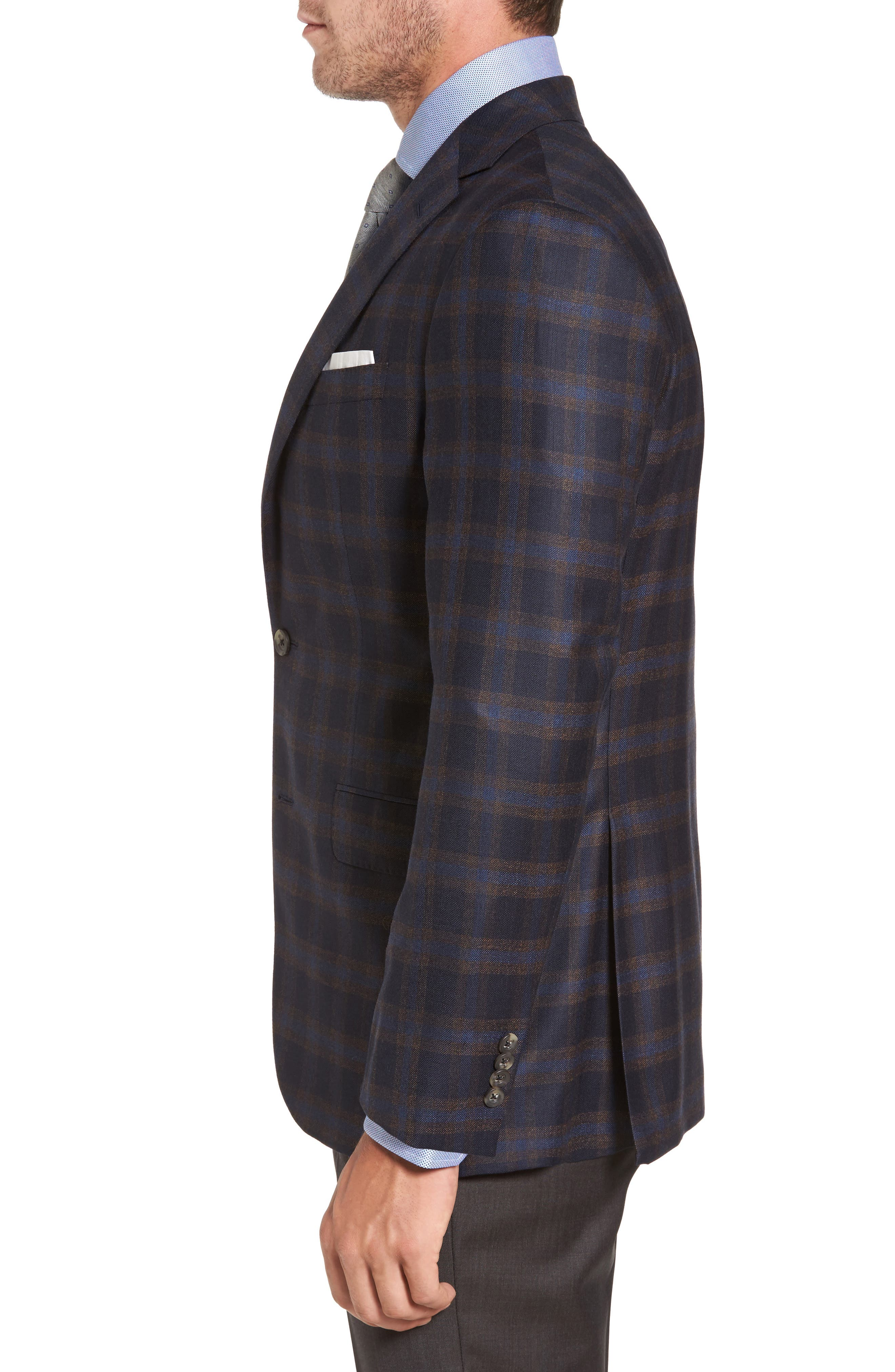 Connor Classic Fit Check Wool Sport Coat,                             Alternate thumbnail 3, color,                             410