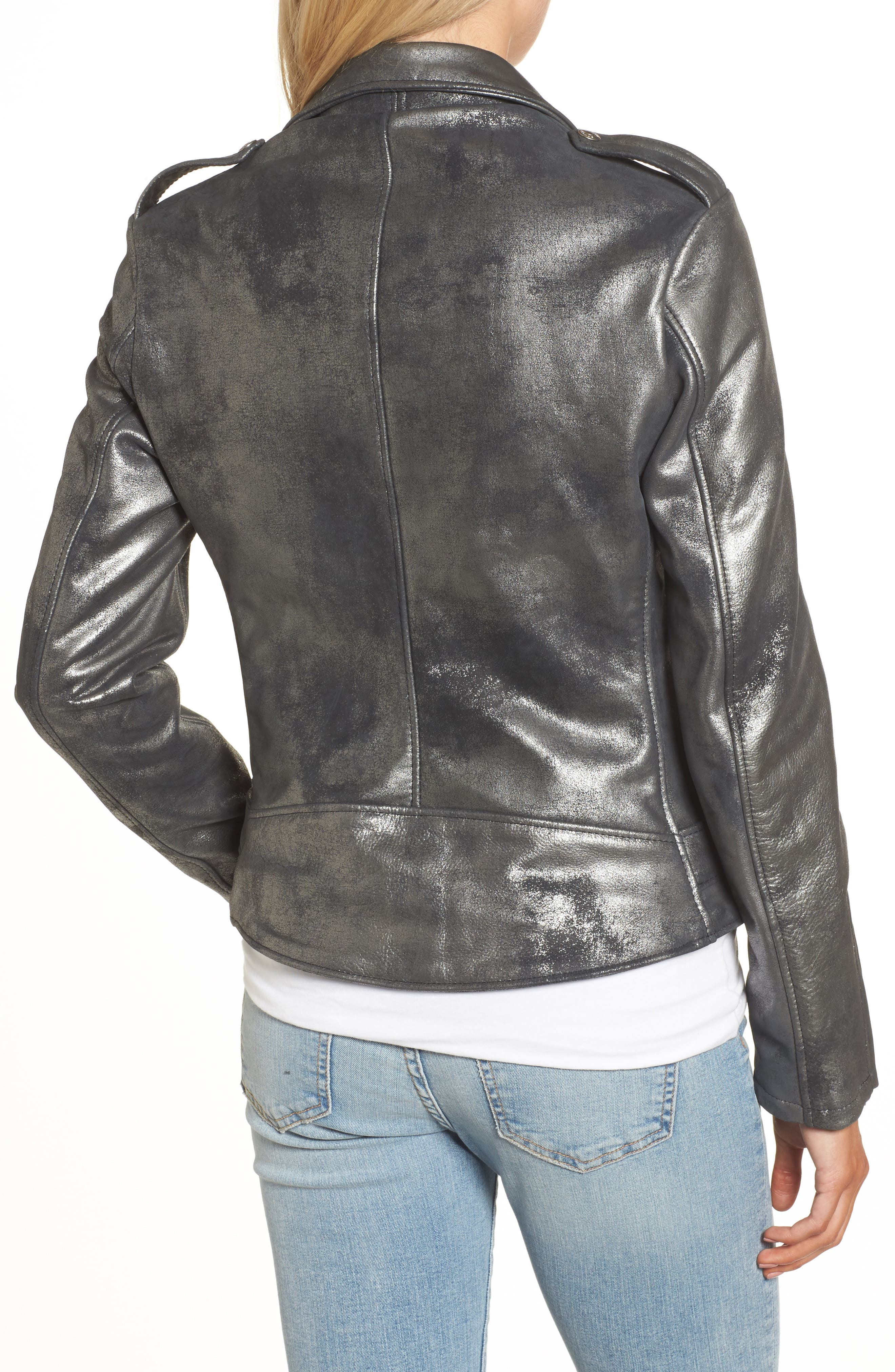 Perfecto Distressed Leather Boyfriend Jacket,                             Alternate thumbnail 4, color,