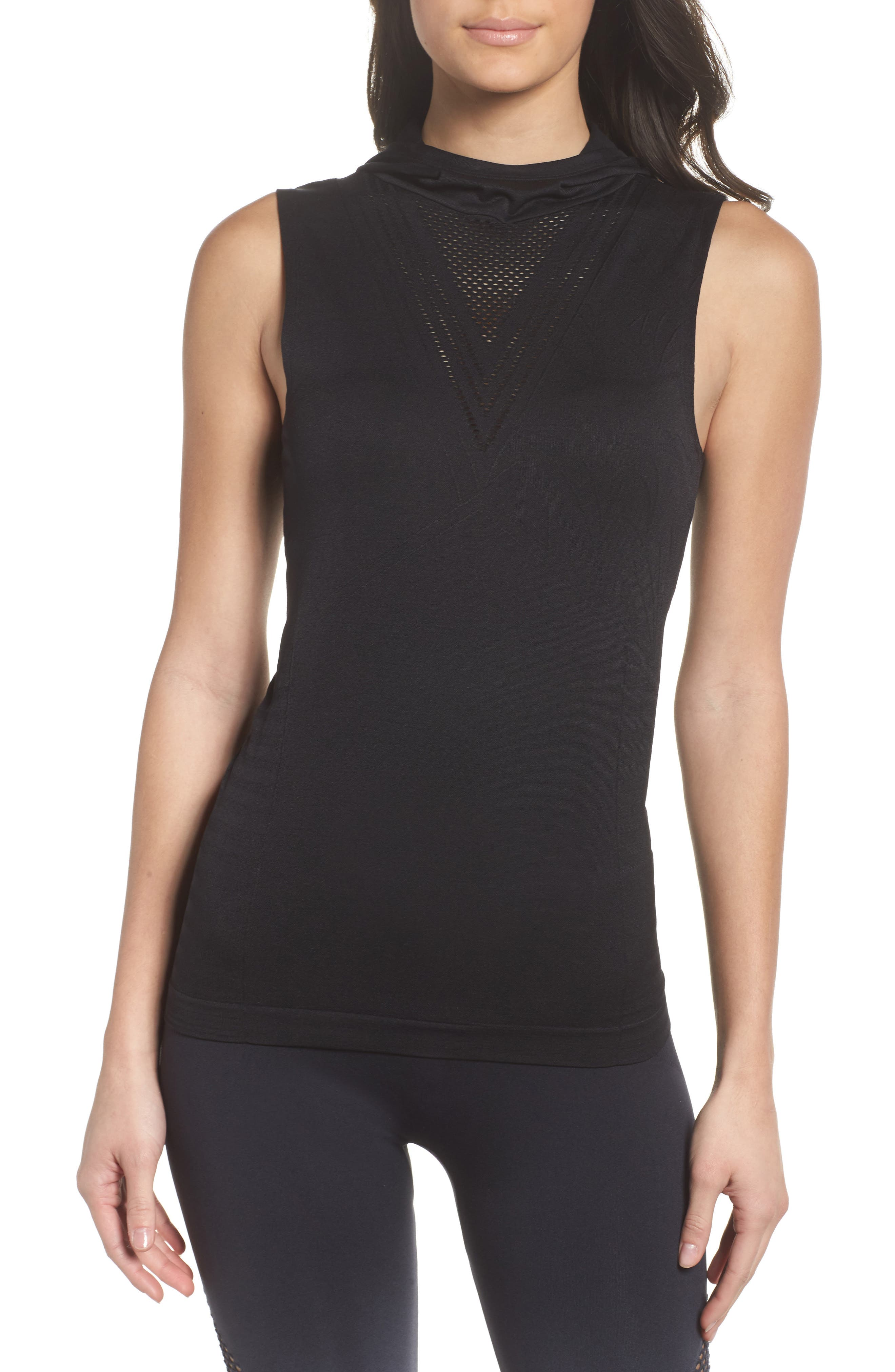 CLIMAWEAR,                             Velocity Sleeveless Hoodie,                             Main thumbnail 1, color,                             001