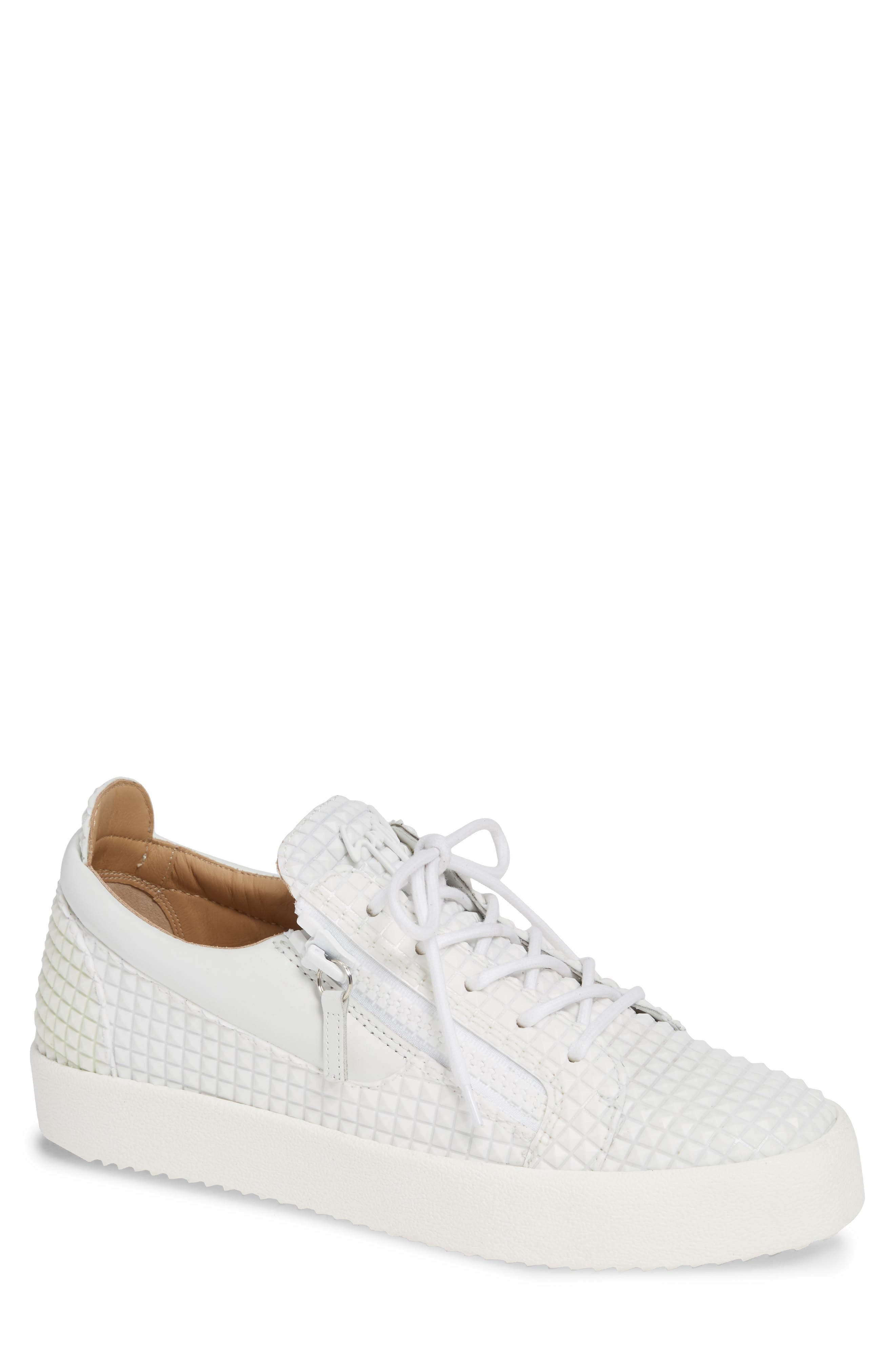 Men'S Croc-Embossed Leather Low-Top Sneakers in White