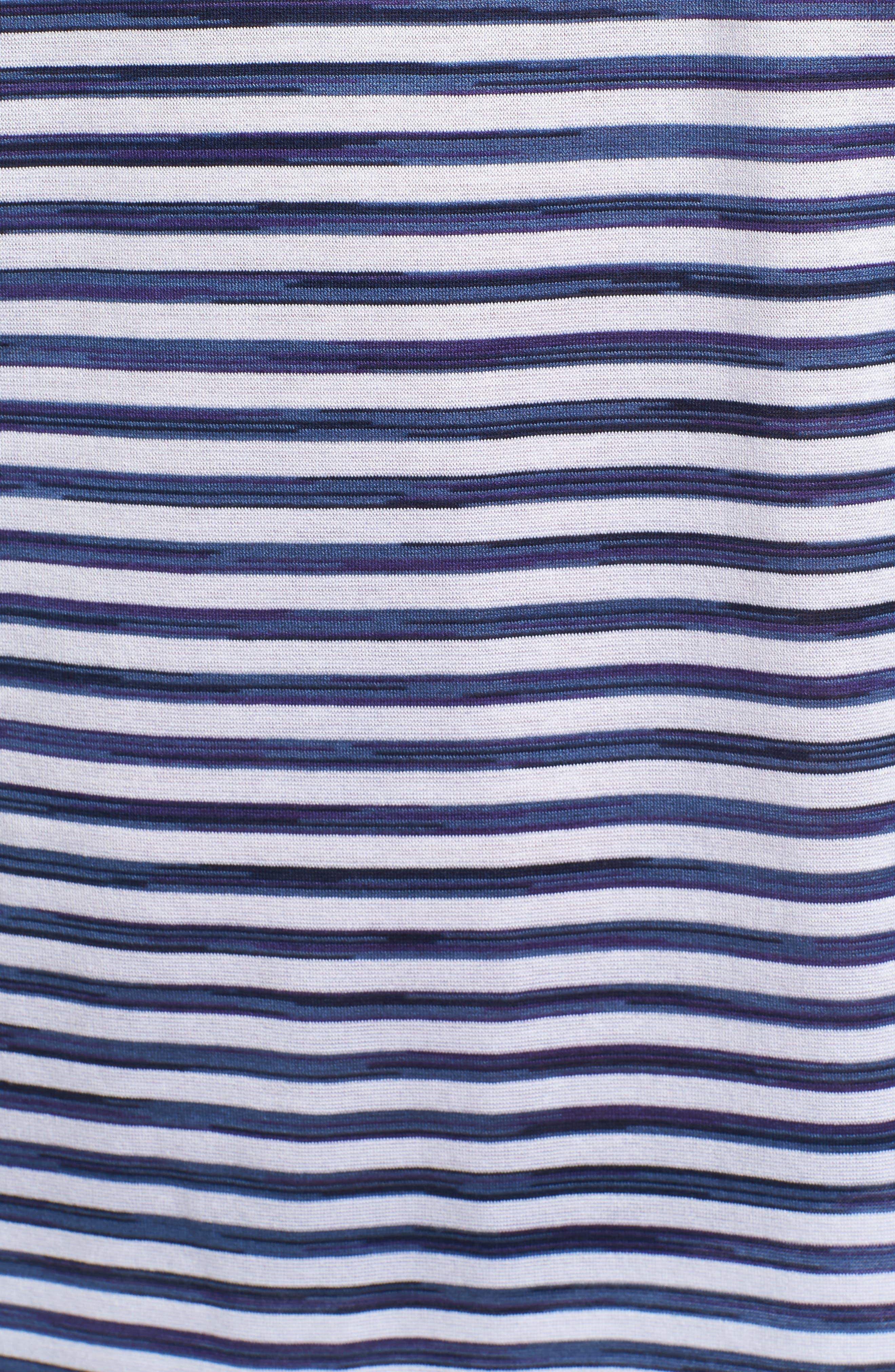 Stripe Knit Polo,                             Alternate thumbnail 5, color,                             WHITE