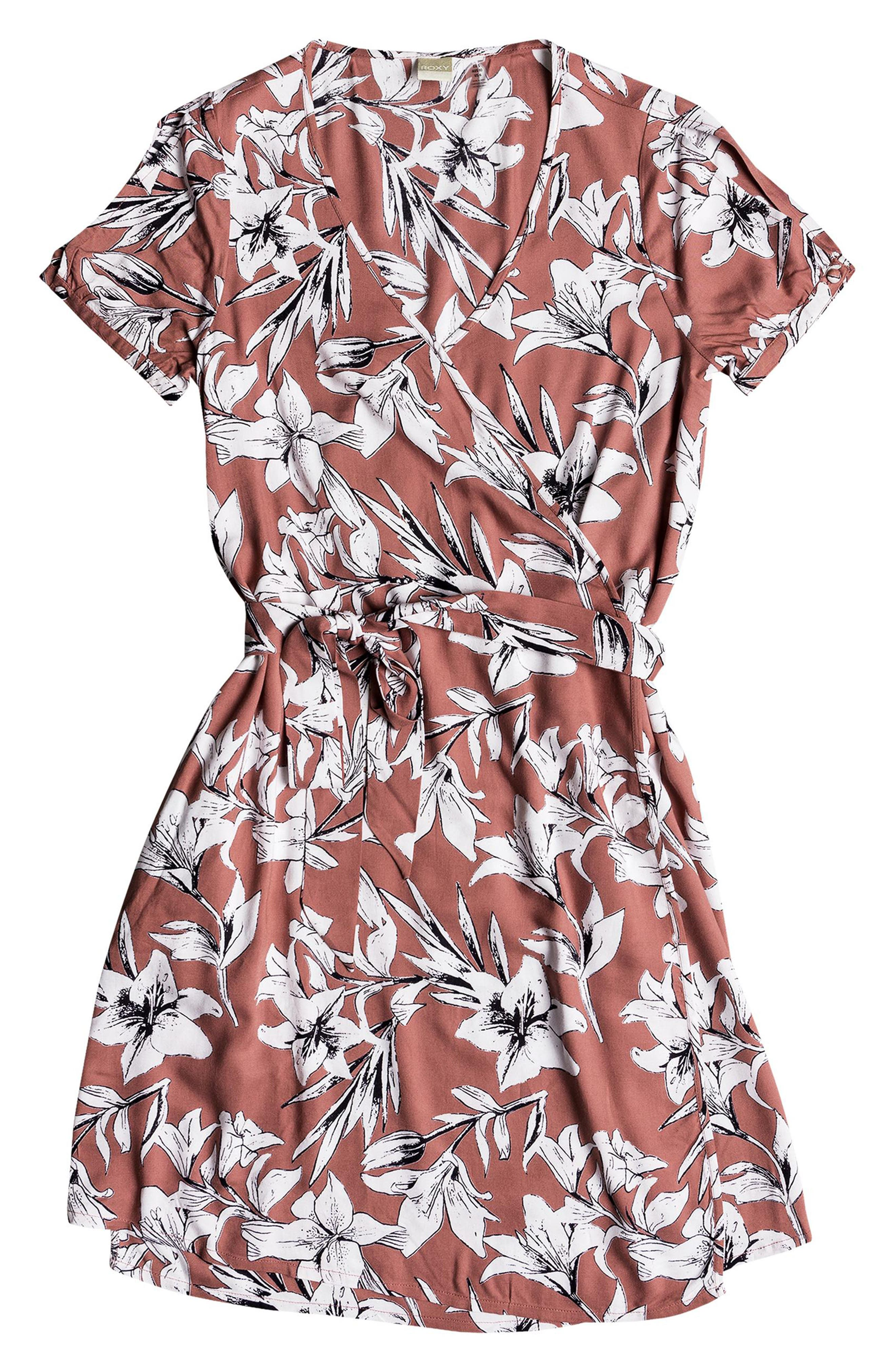 Monument View Floral Print Wrap Dress,                             Alternate thumbnail 4, color,                             WITHERED ROSE LILY HOUSE