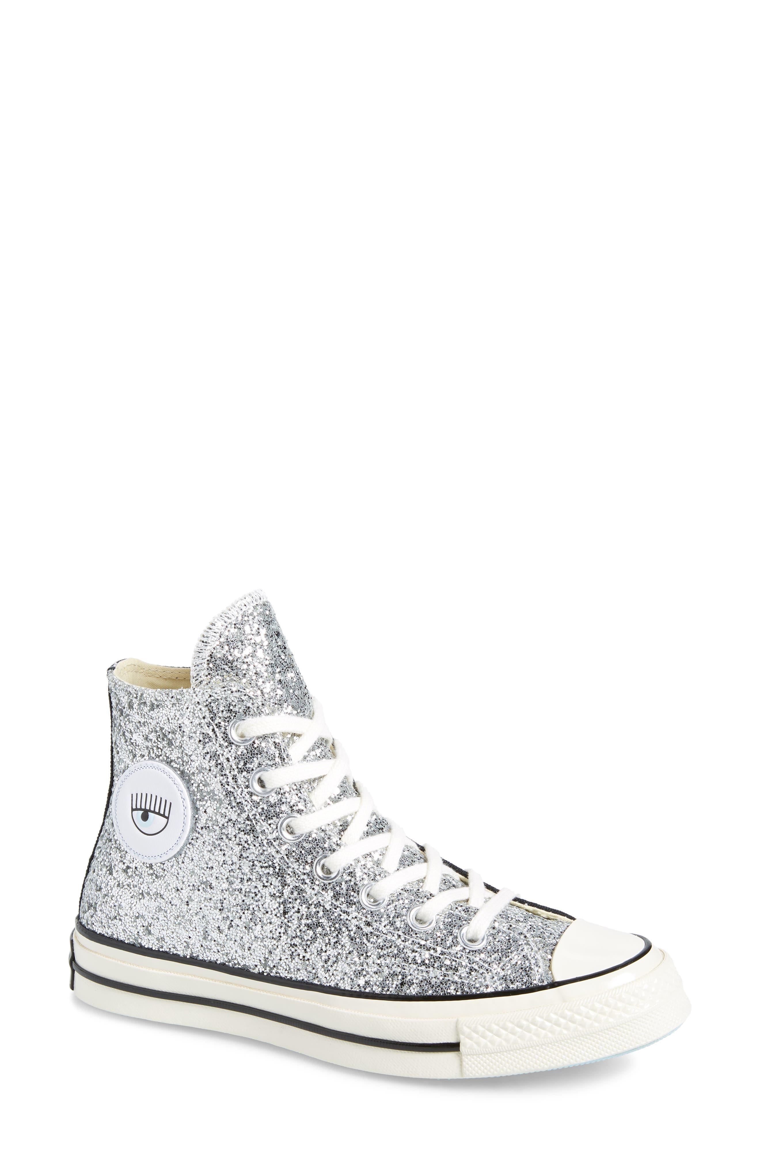 X Chiara Ferragni Women'S Chuck Taylor Tillands Glitter High Top Sneakers in Black/ Metallic Silver