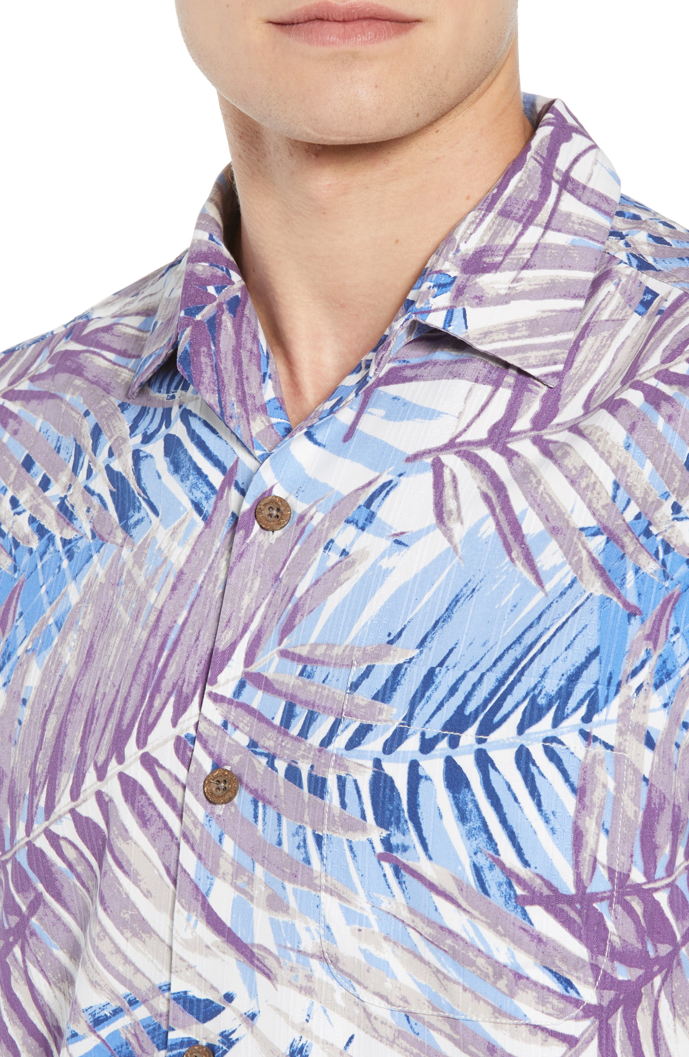 San Juan Fronds Silk Blend Camp Shirt,                             Alternate thumbnail 4, color,                             400