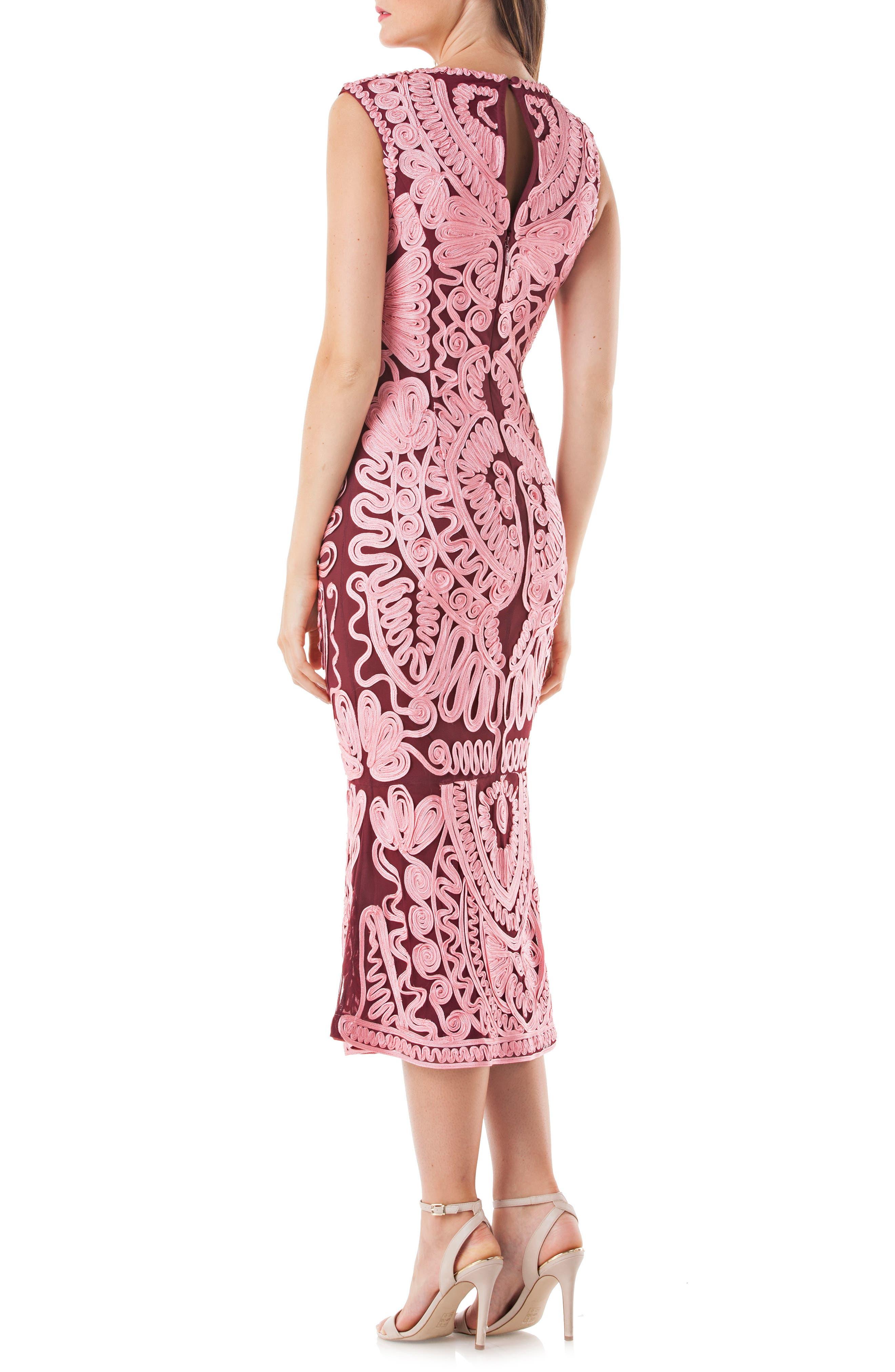 Soutache Mesh Dress,                             Alternate thumbnail 2, color,                             PINK/ WINE