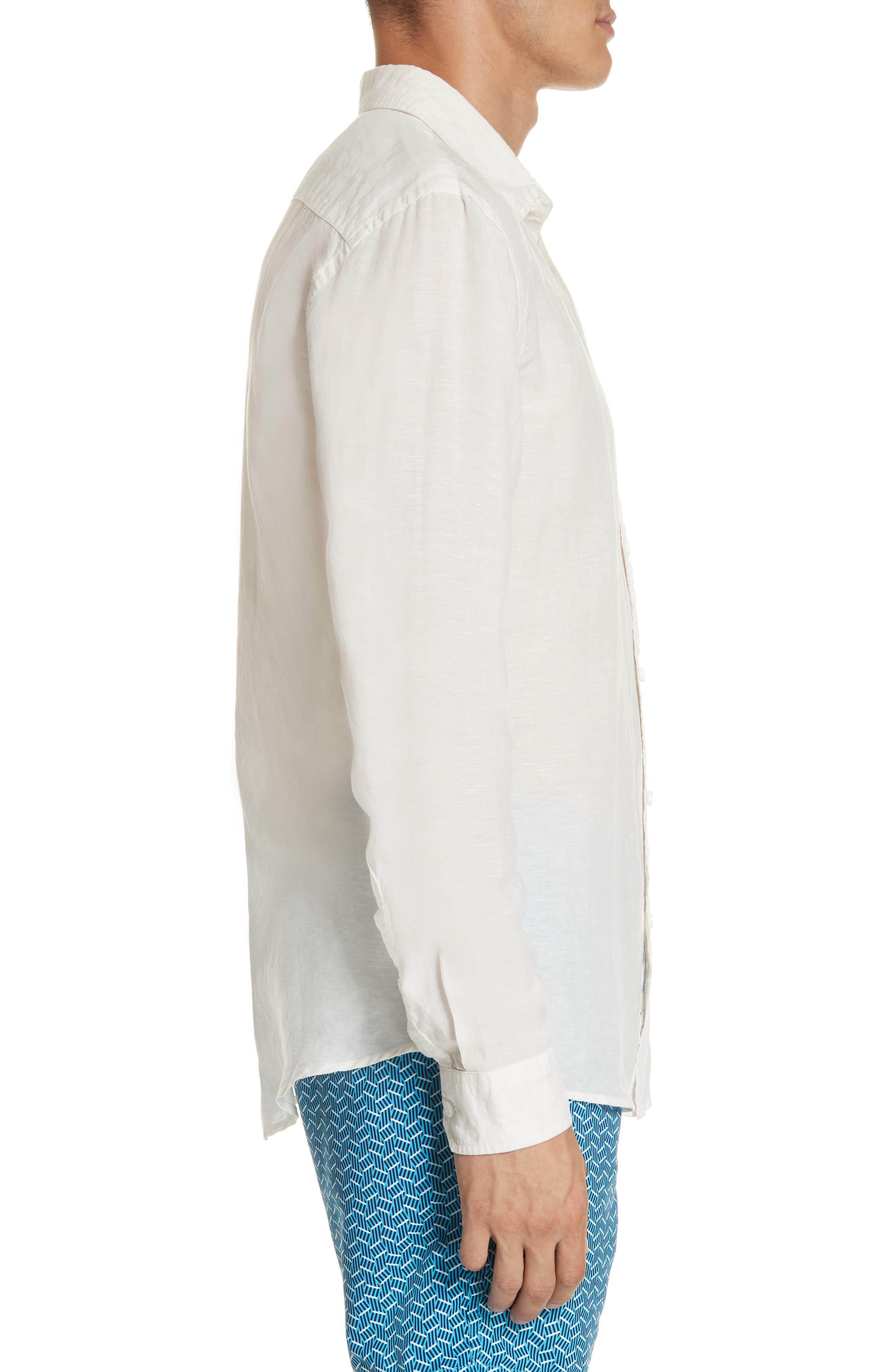 Abe Linen Blend Shirt,                             Alternate thumbnail 4, color,                             WHITE