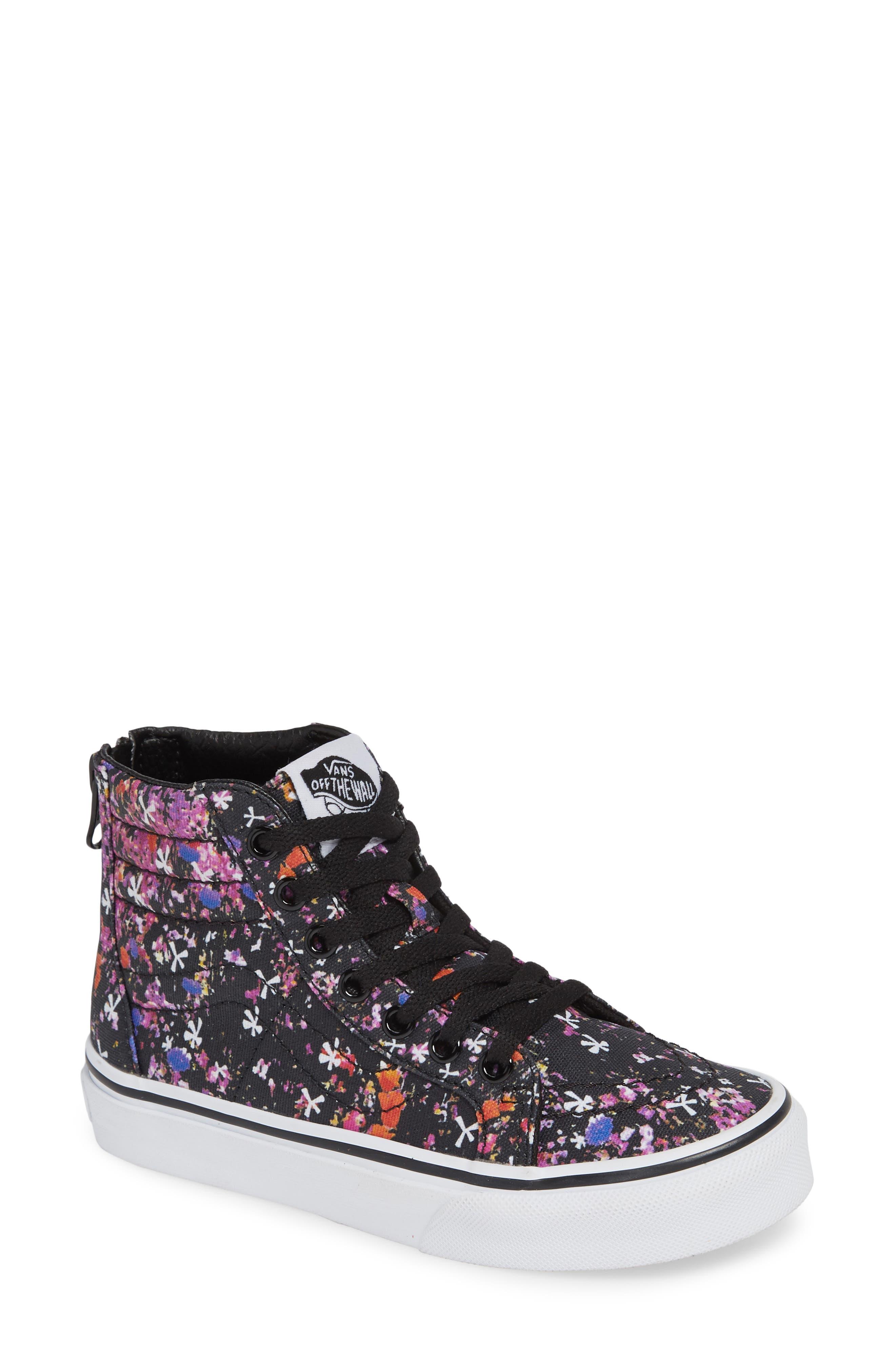 Sk8-Hi Zip Sneaker, Main, color, BLACK/ TRUE WHITE