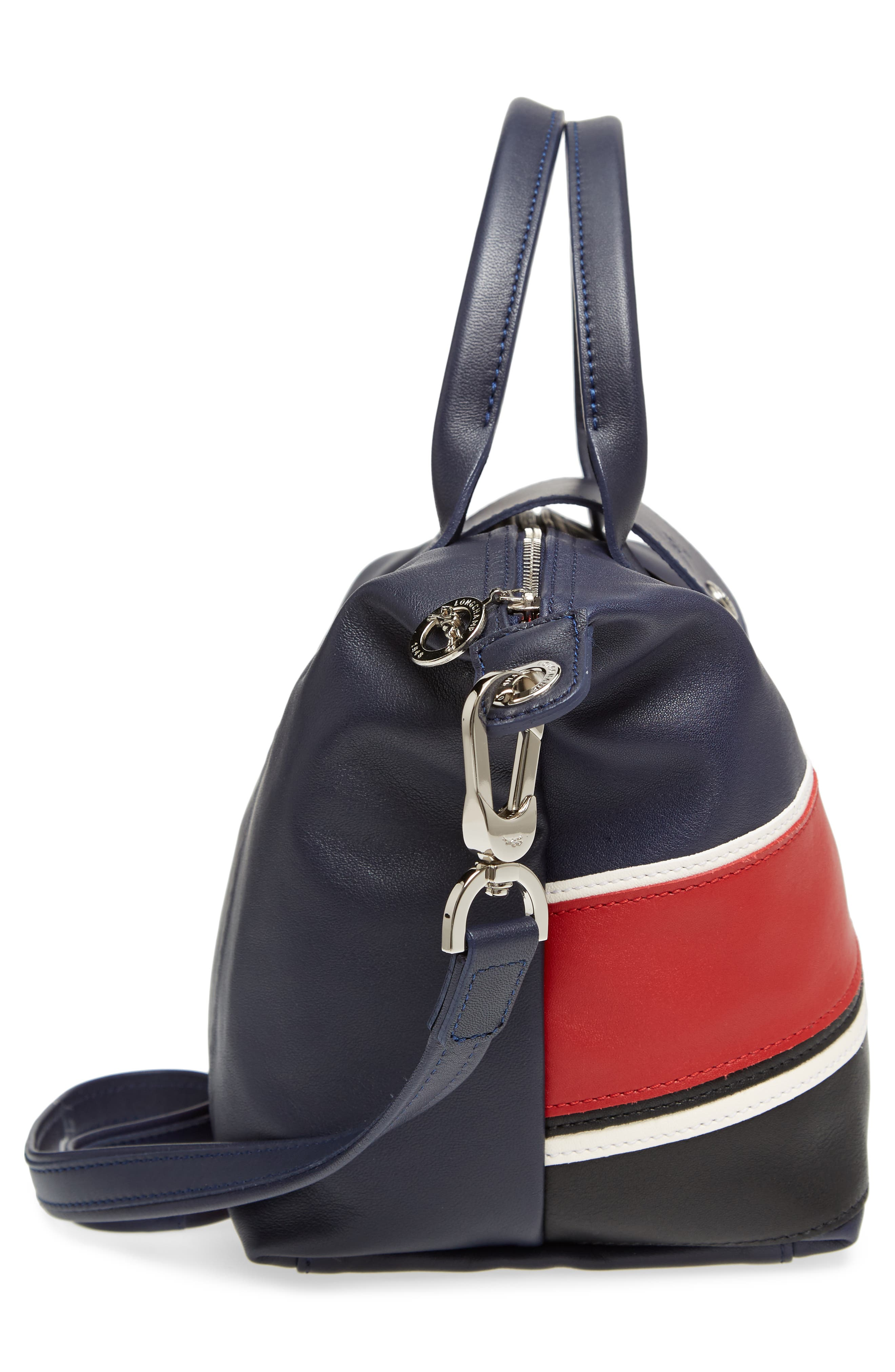 Small Le Pliage Cuir - Chevron Top Handle Leather Tote,                             Alternate thumbnail 5, color,                             622