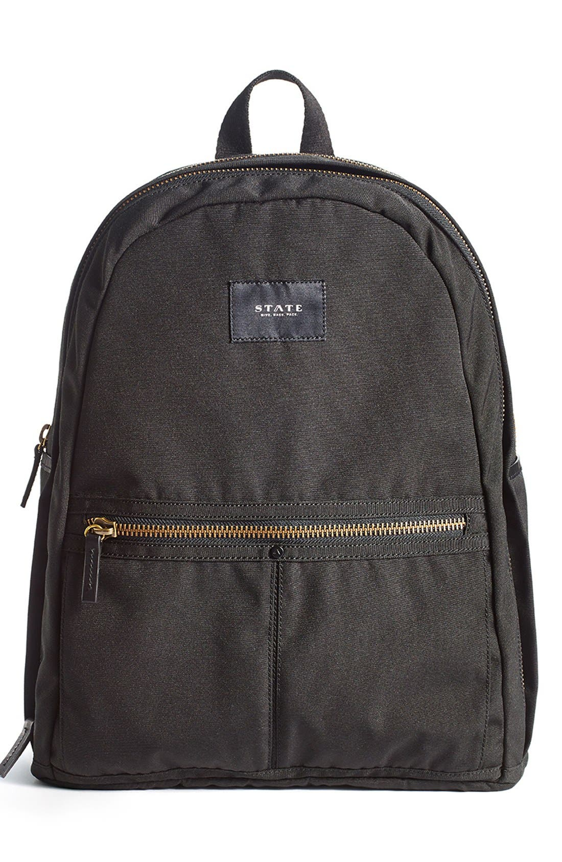'Union' Water Resistant Backpack with Leather Trim, Main, color, 001