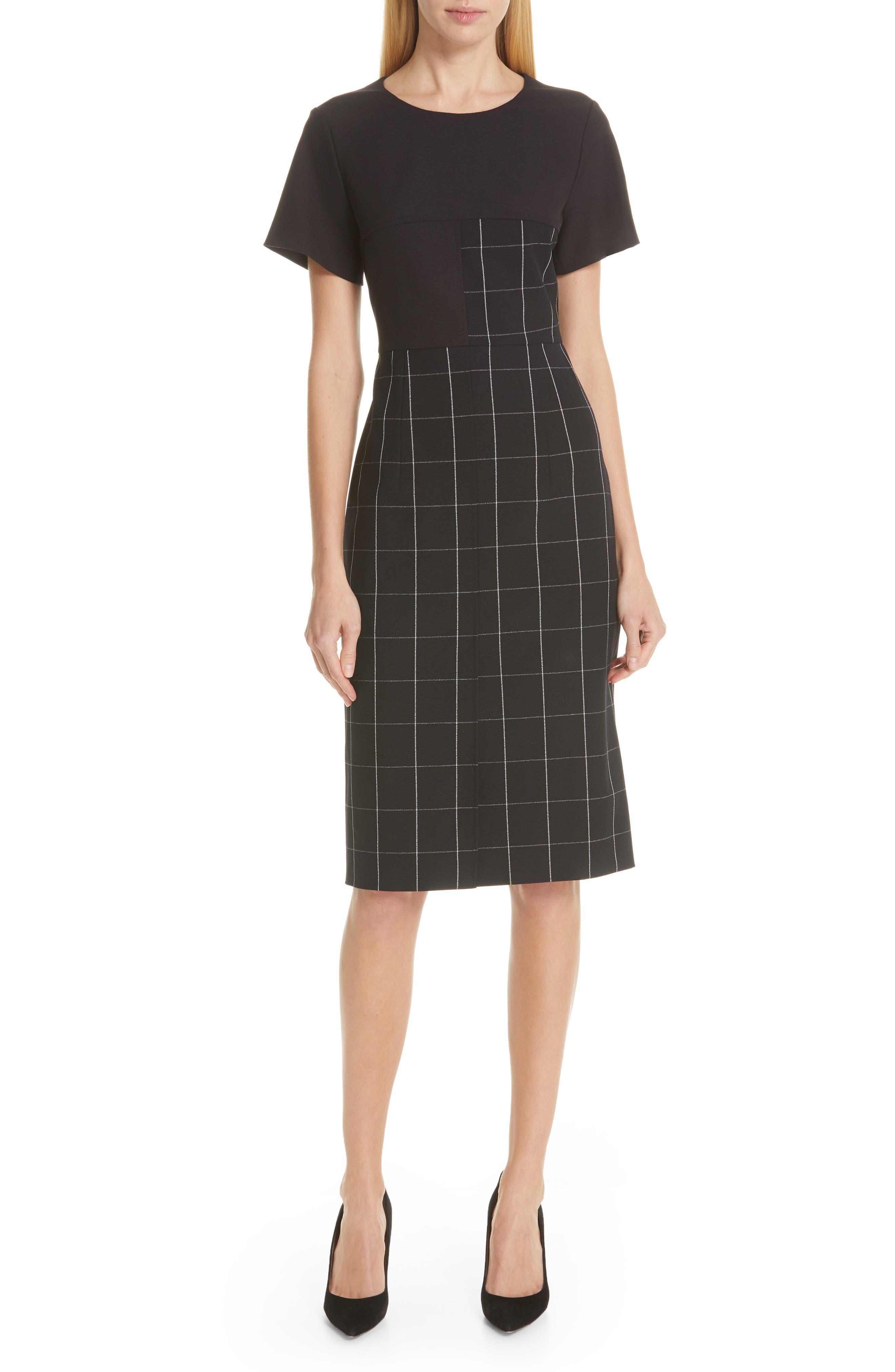 Boss Dedani Windowpane Sheath Dress, Black