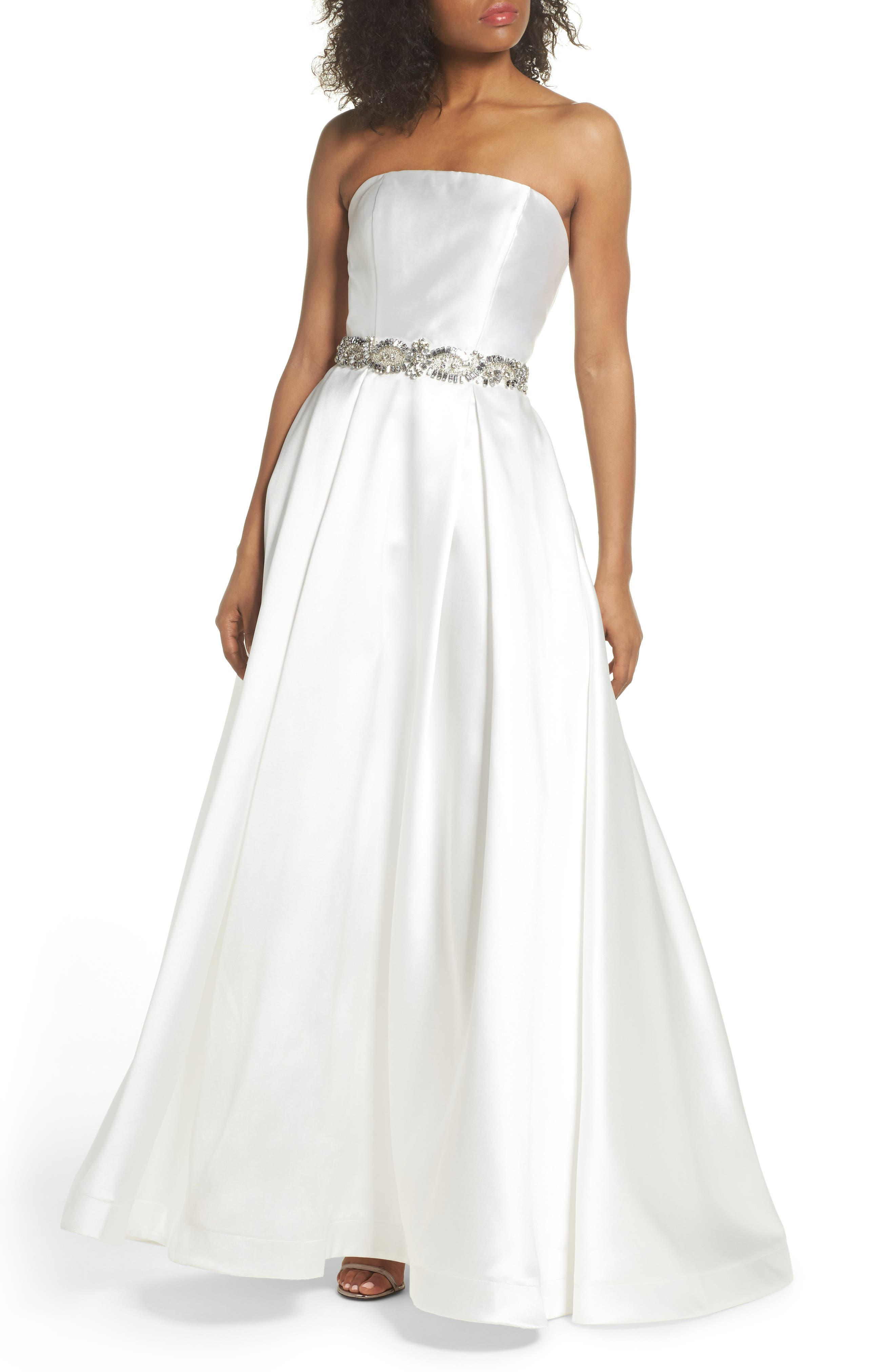 Embellished Strapless Ballgown,                             Main thumbnail 2, color,