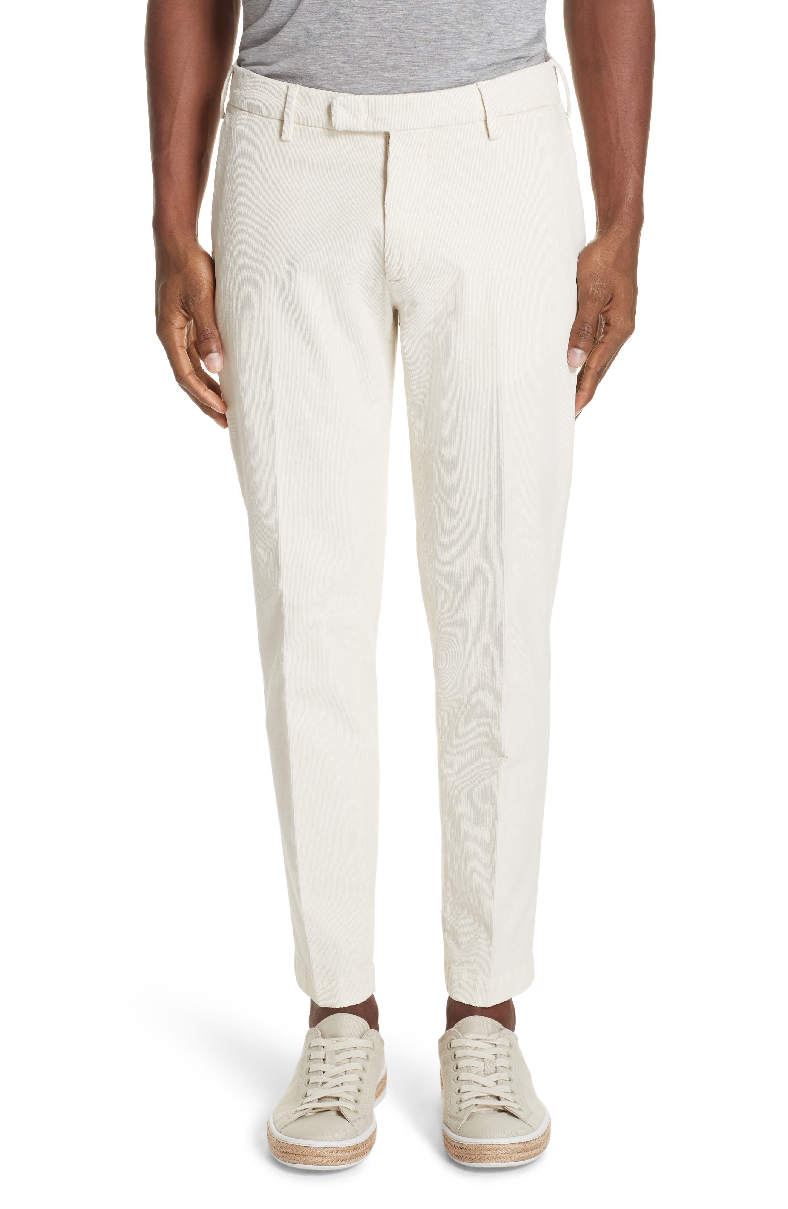 Flat Front Stretch Solid Cotton Blend Trousers,                         Main,                         color, WINTER WHITE