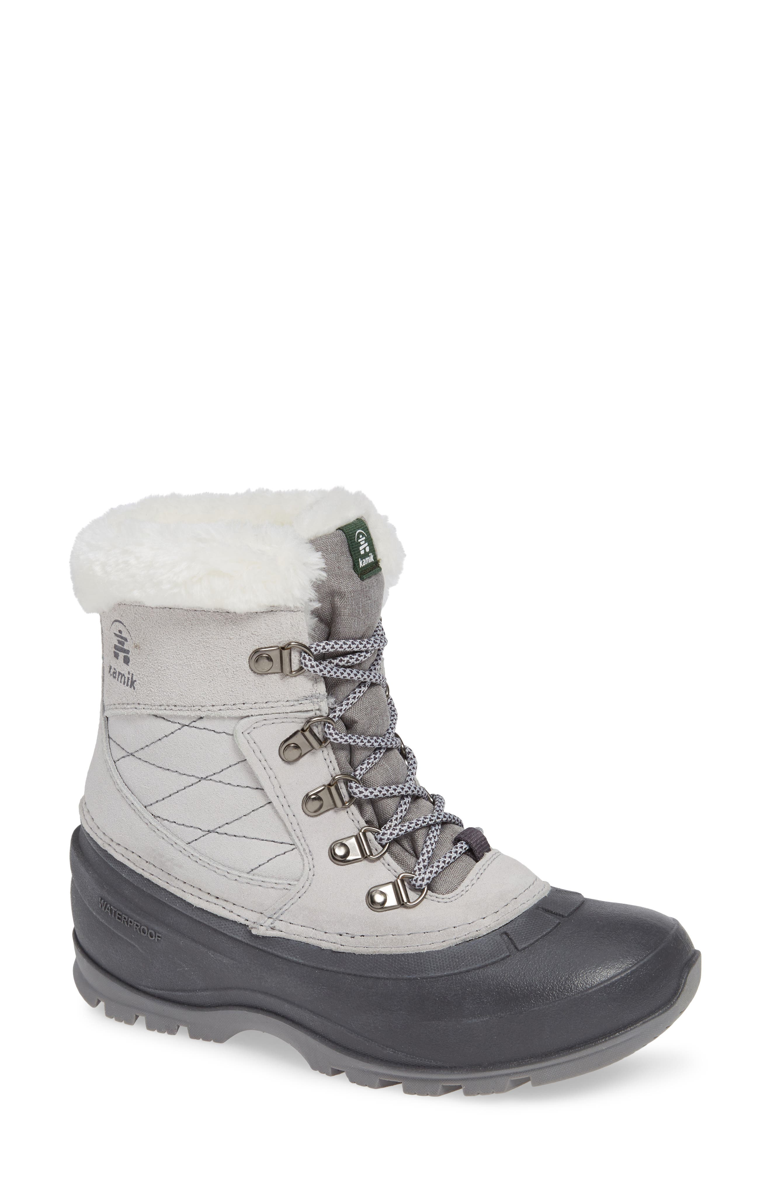 KAMIK,                             Snovalley1 Waterproof Thinsulate<sup>®</sup> Insulated Snow Boot,                             Main thumbnail 1, color,                             LIGHT GREY SUEDE
