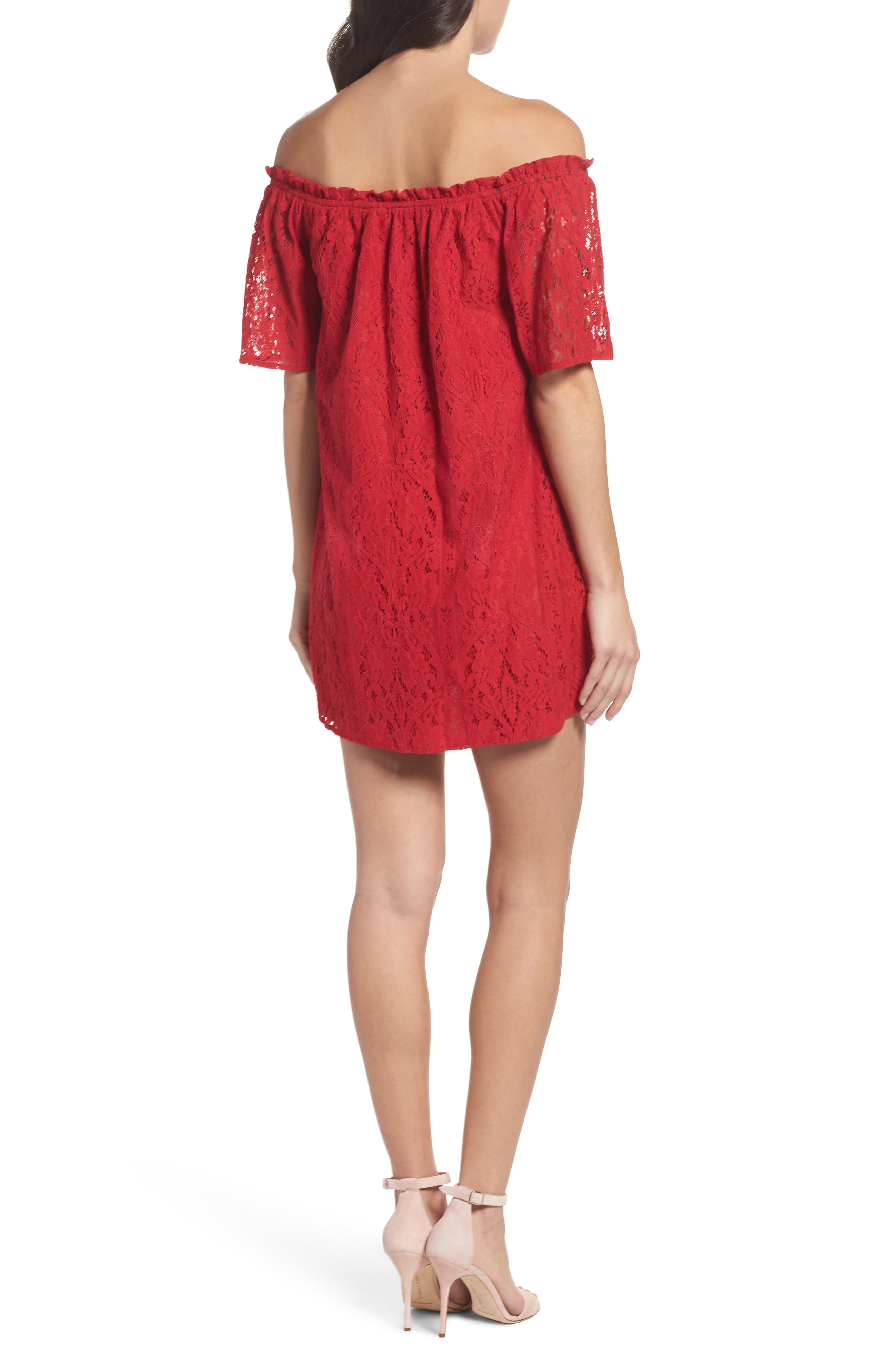 Erica Off the Shoulder Lace Shift Dress,                             Alternate thumbnail 2, color,                             600
