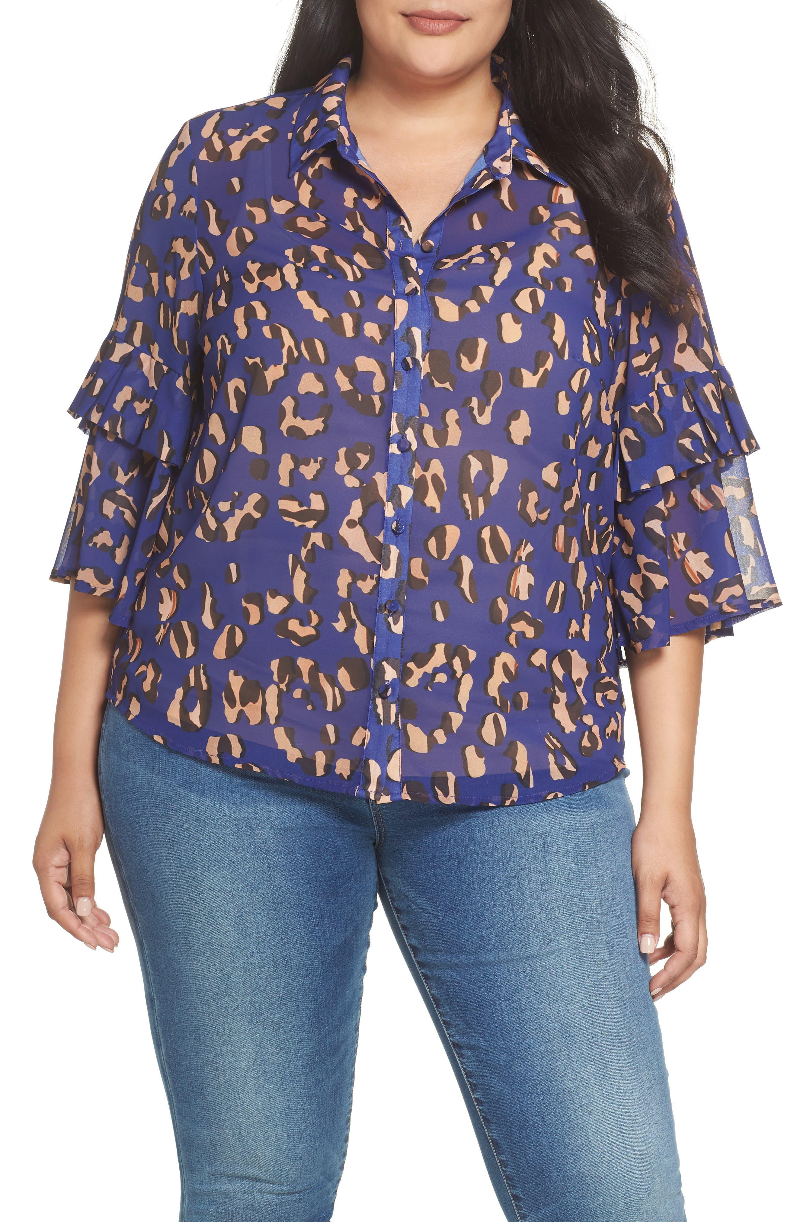 Leopard Print Button Down Shirt,                         Main,                         color, 001