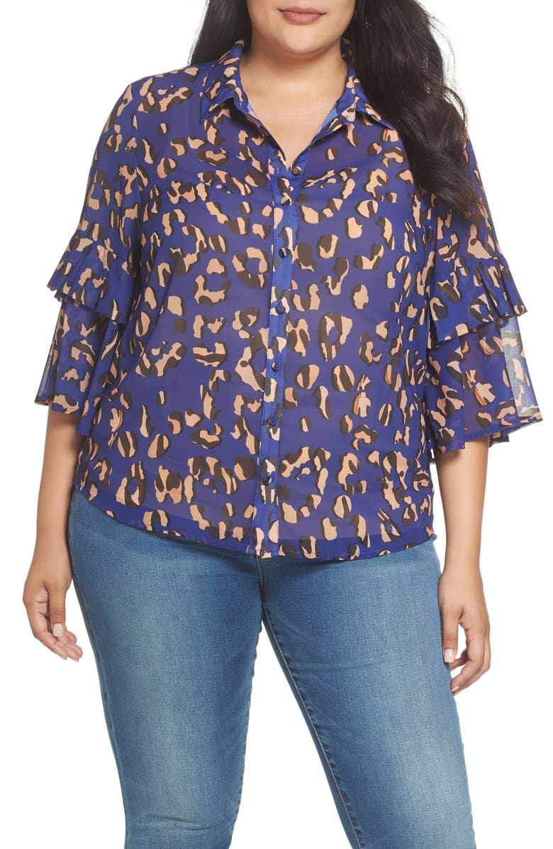 Lost Ink Leopard Print Button Down Shirt Plus Size Nordstrom