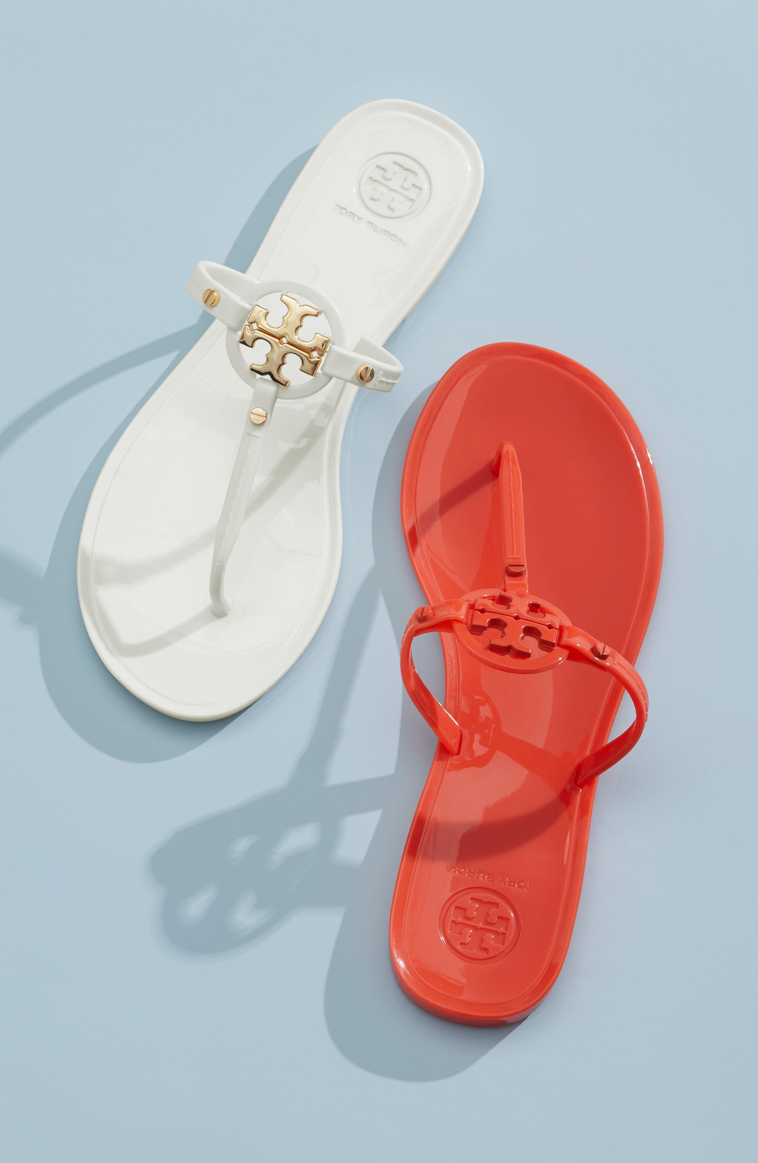 TORY BURCH,                             'Mini Miller' Flat Sandal,                             Alternate thumbnail 7, color,                             RED
