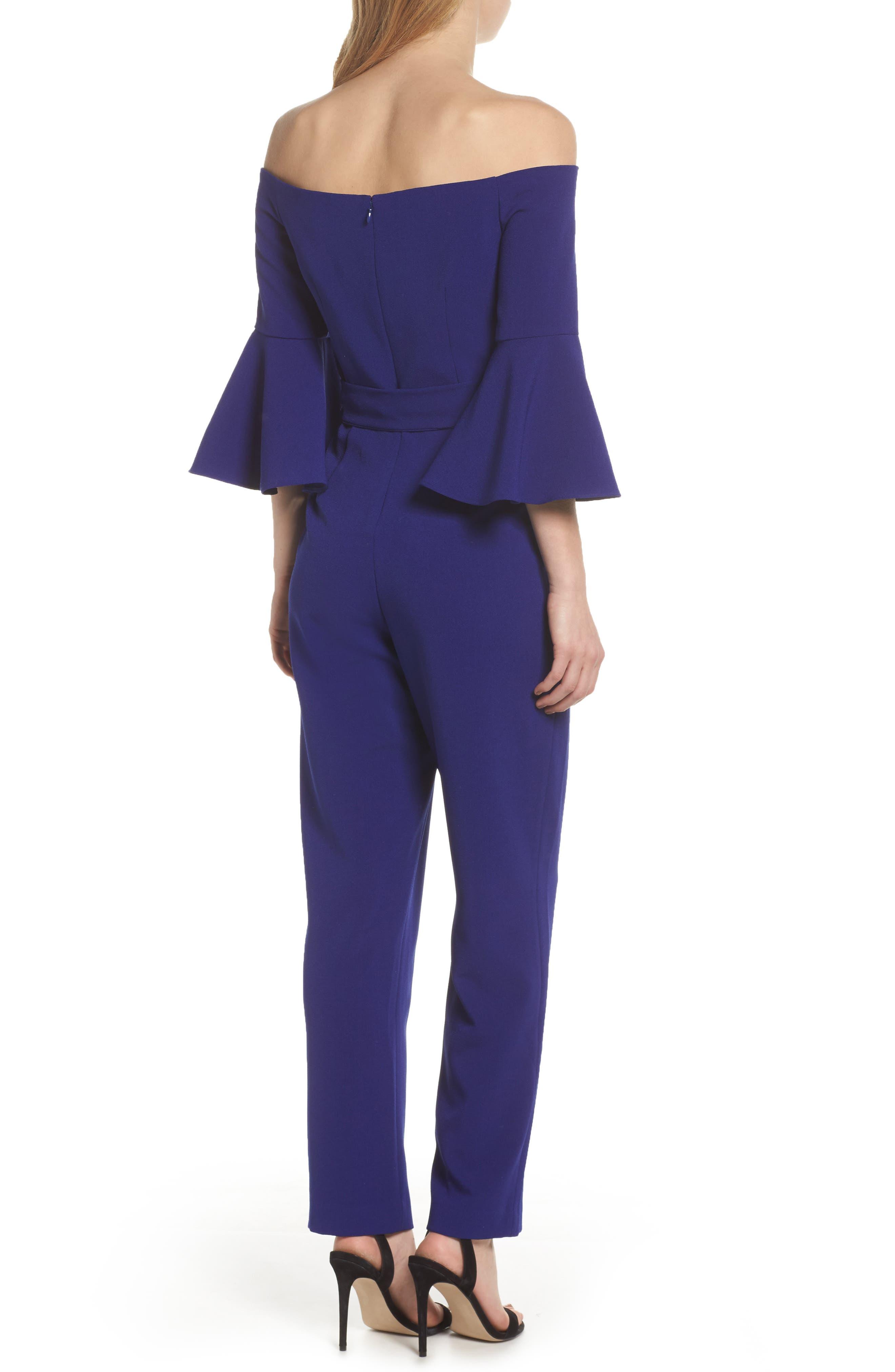 ELIZA J,                             Off the Shoulder Bell Sleeve Slim Leg Jumpsuit,                             Alternate thumbnail 2, color,                             COBALT