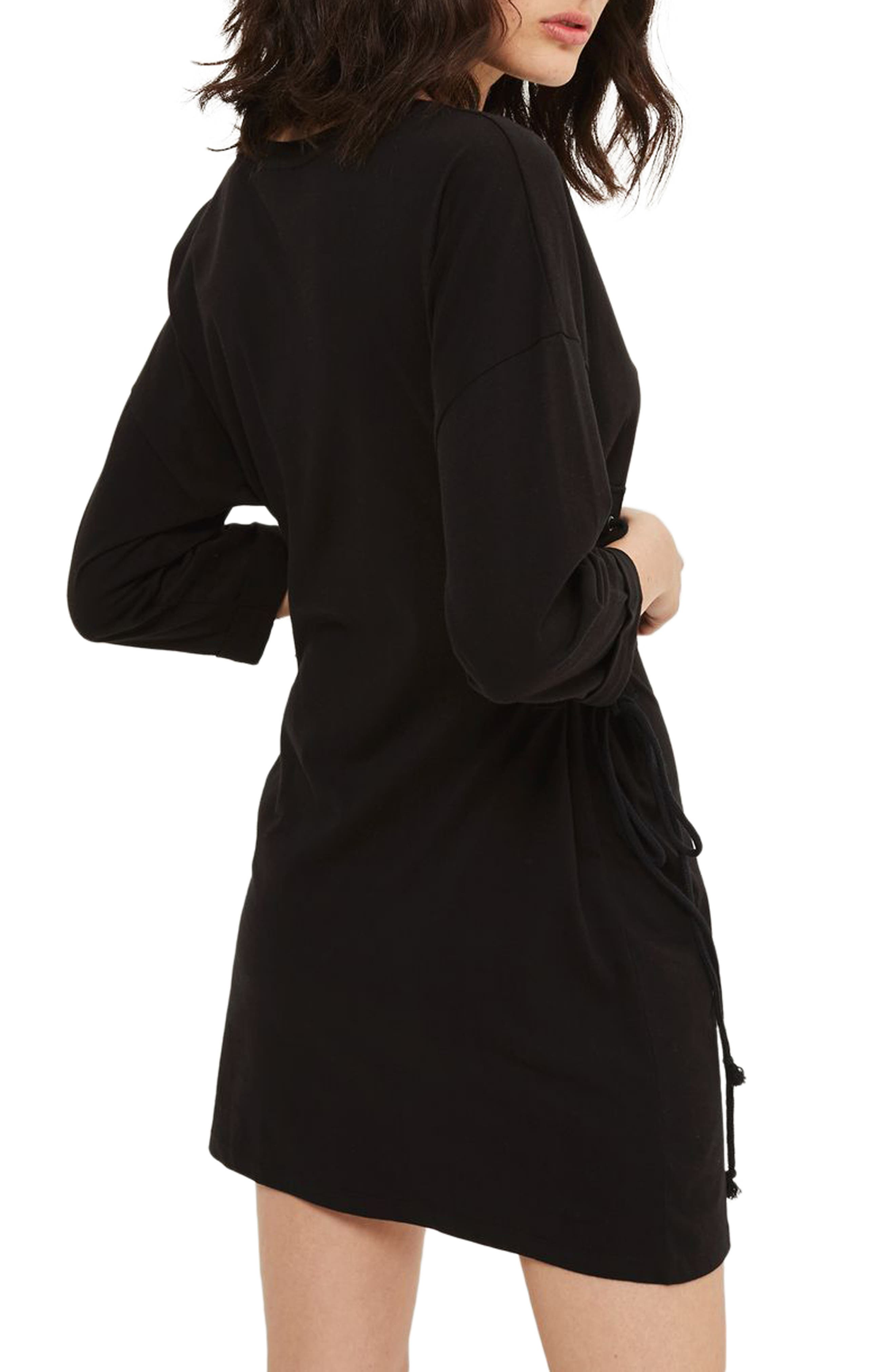 Lace-Up Side Tunic Dress,                             Alternate thumbnail 2, color,                             001