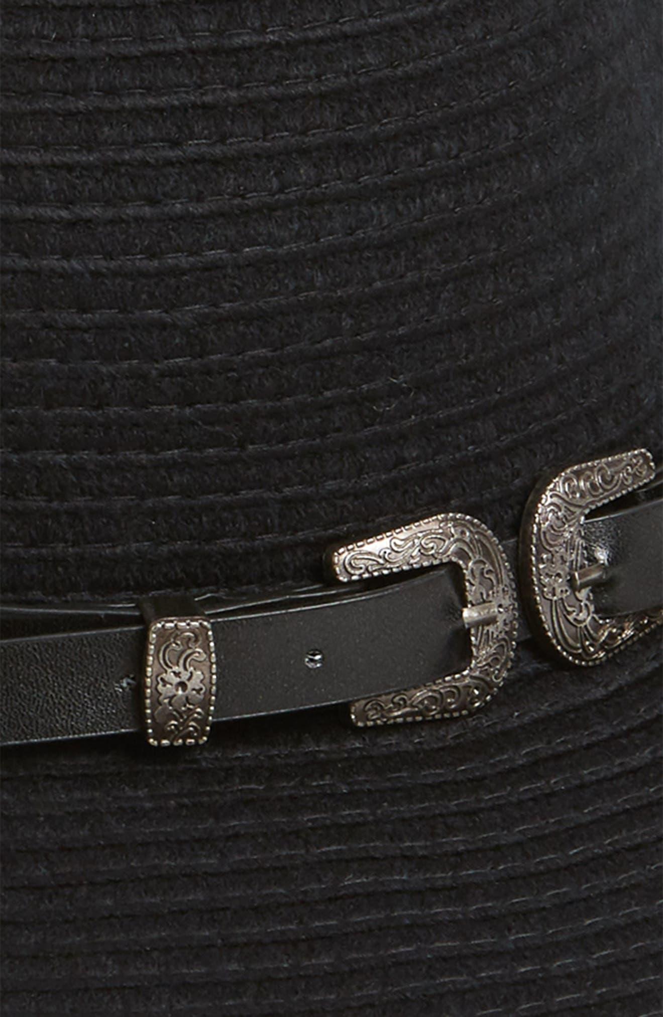 Belted Floppy Felt Hat,                             Alternate thumbnail 2, color,                             BLACK