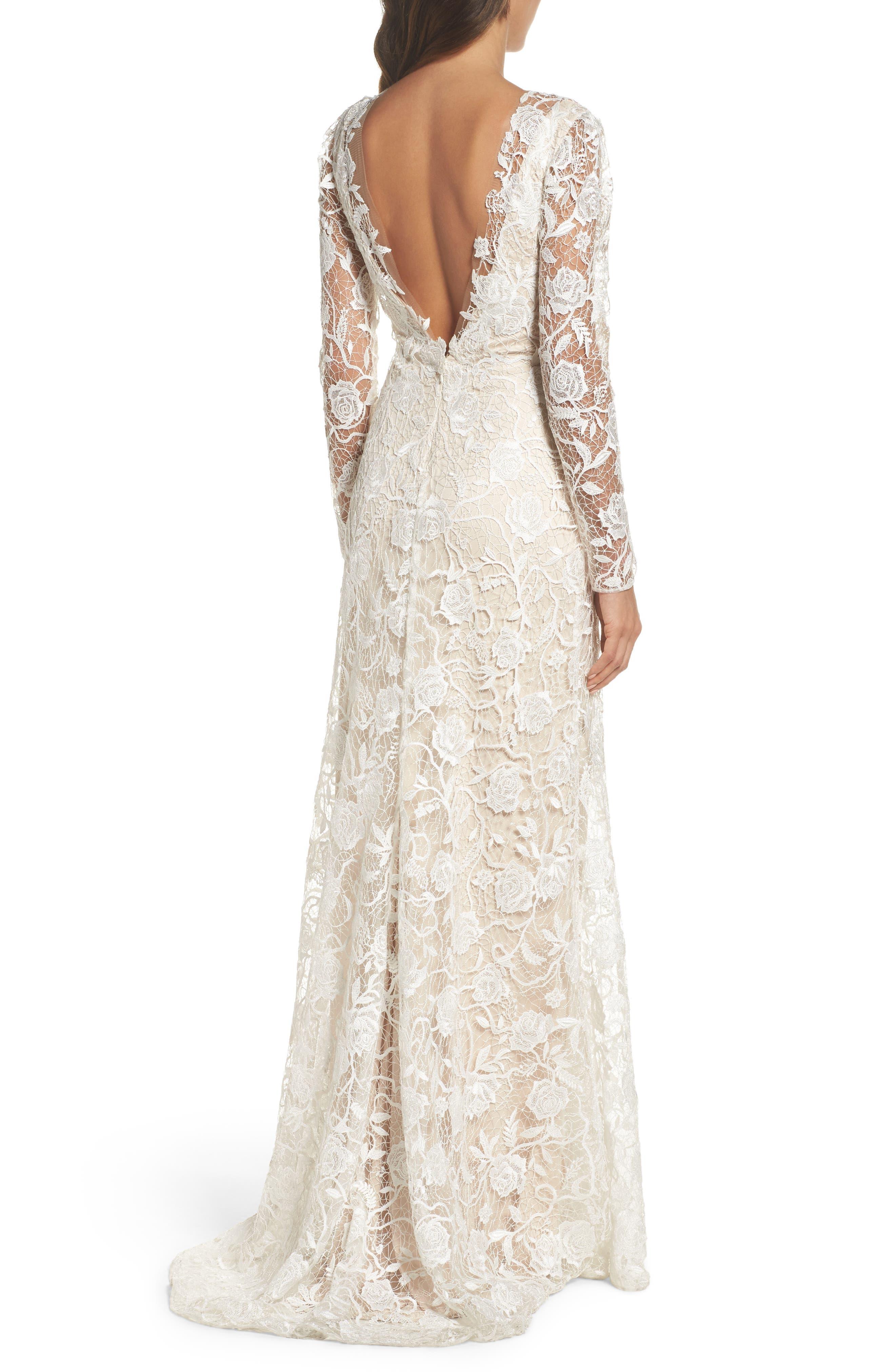 Long Sleeve A-Line Sheath Gown,                             Alternate thumbnail 2, color,                             IVORY/ PETAL