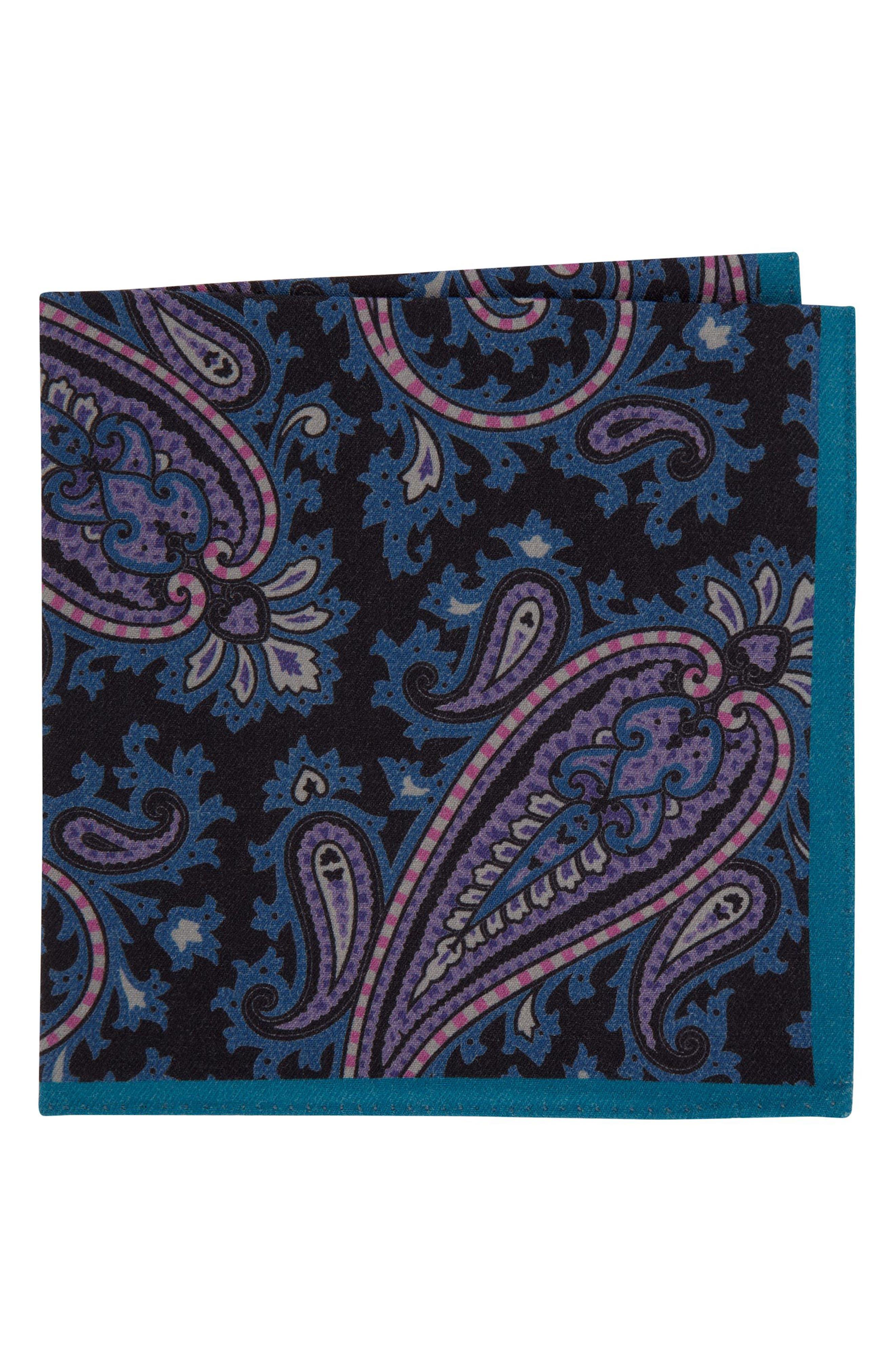 Paisley Wool Pocket Square,                         Main,                         color, 001