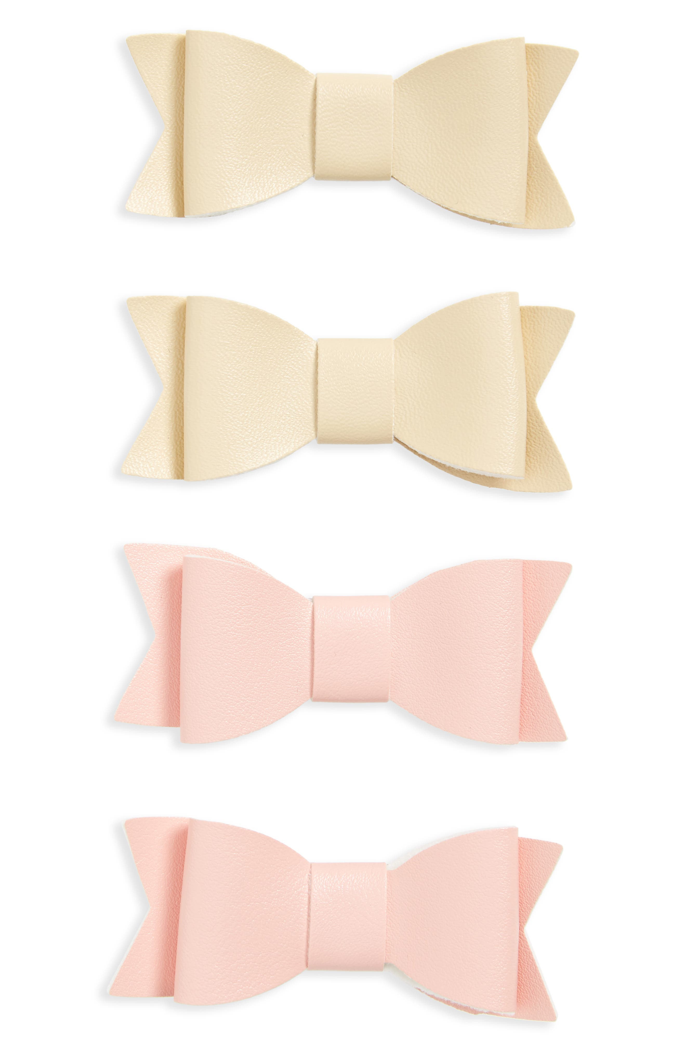 4-Pack Bow Clips,                         Main,                         color, PINK/ IVORY