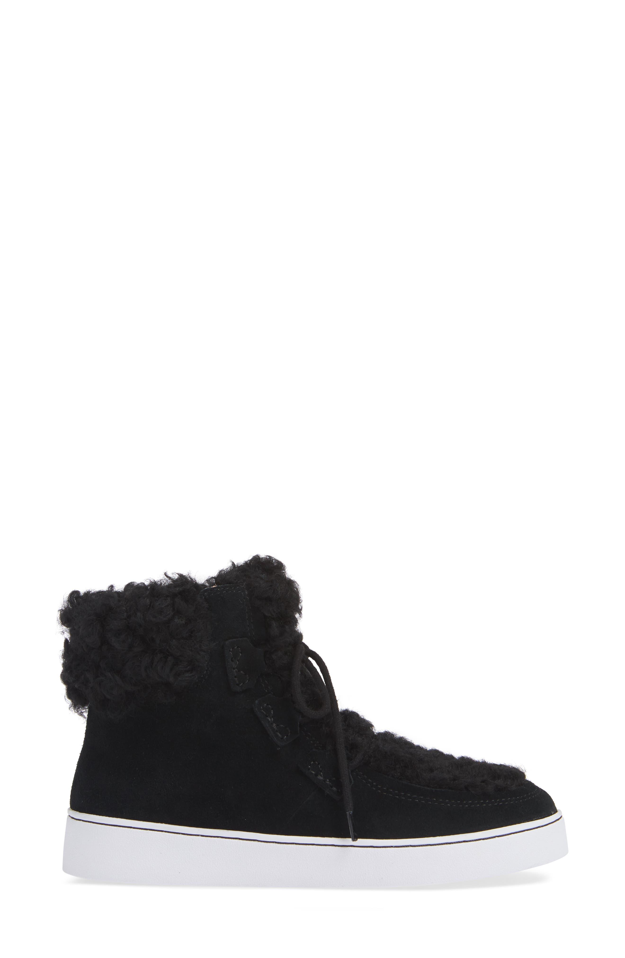 Oak Genuine Shearling Cuff Sneaker Bootie,                             Alternate thumbnail 3, color,                             BLACK SUEDE