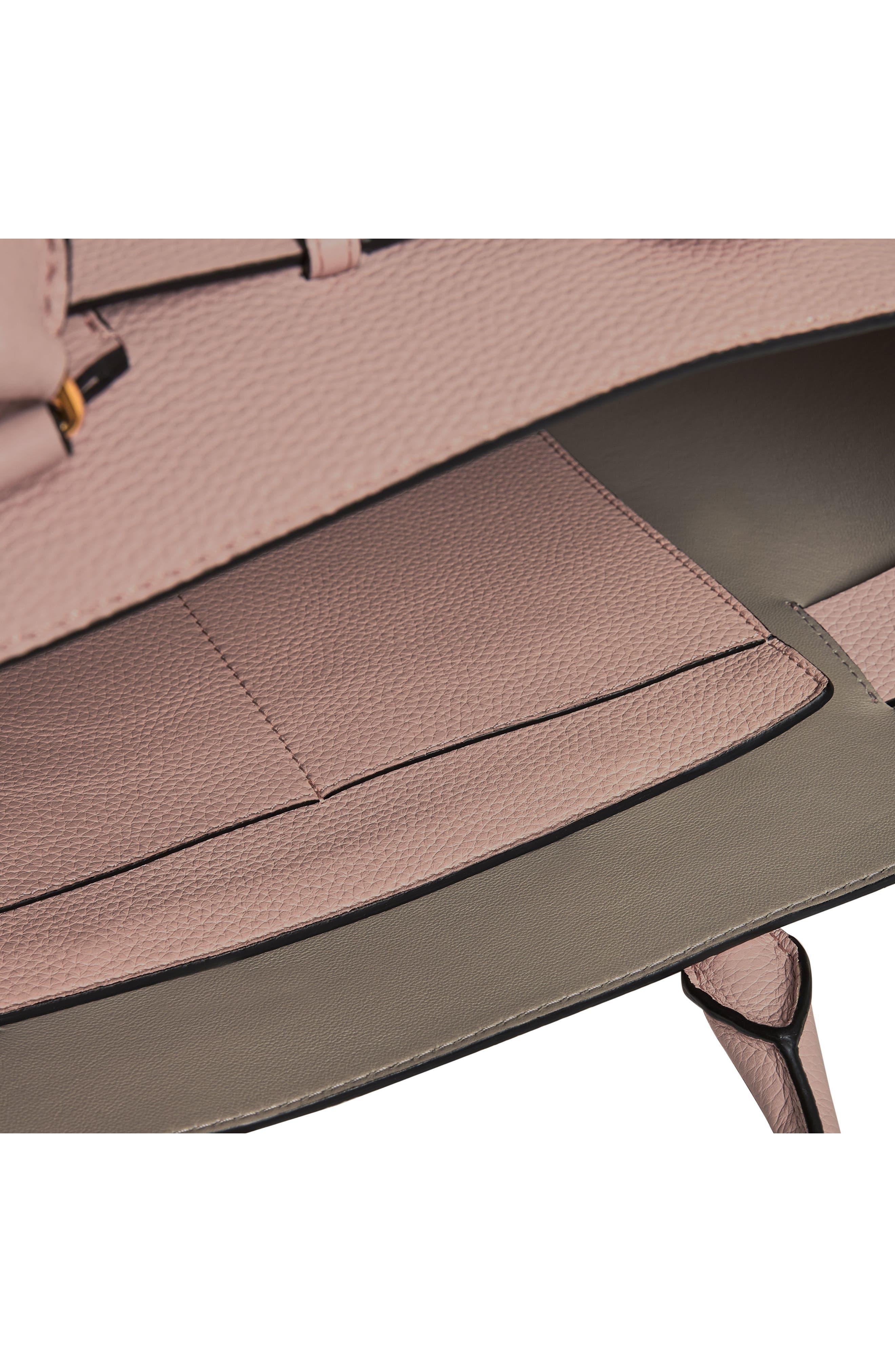 Medium Belt Bag Leather Tote,                             Alternate thumbnail 9, color,                             PALE ASH ROSE