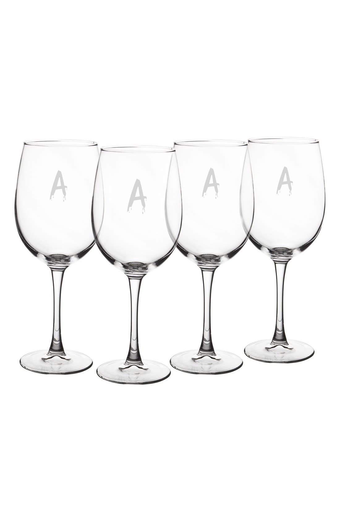 Spooky Monogram Set of 4 White Wine Glasses,                             Main thumbnail 1, color,                             A